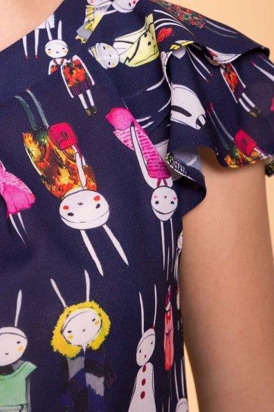 Блуза с принтом Инканто 3916 Цвет: т.синий Кролики аниме