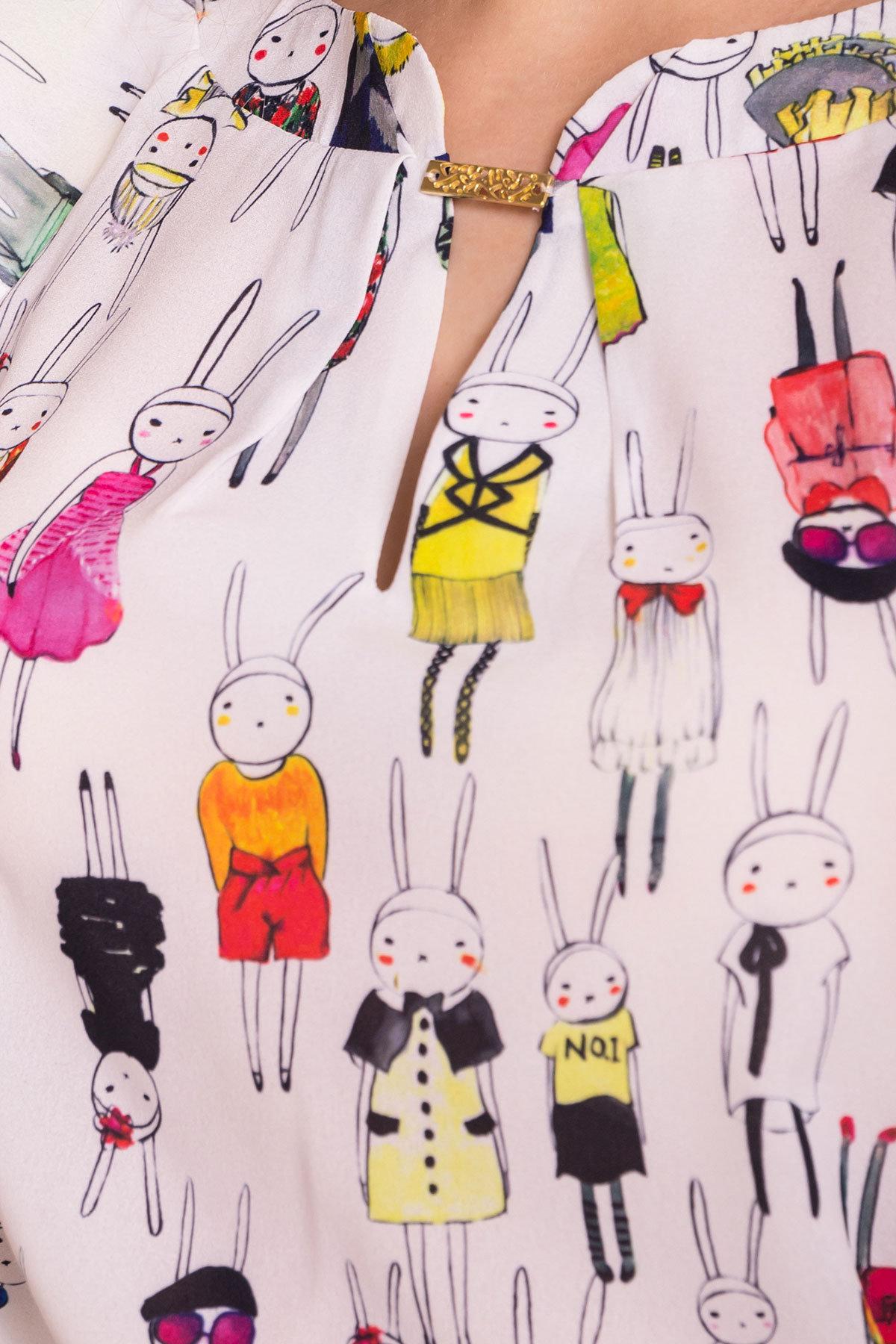Блуза с принтом Инканто 3916 АРТ. 41404 Цвет: Молоко Кролики аниме - фото 4, интернет магазин tm-modus.ru