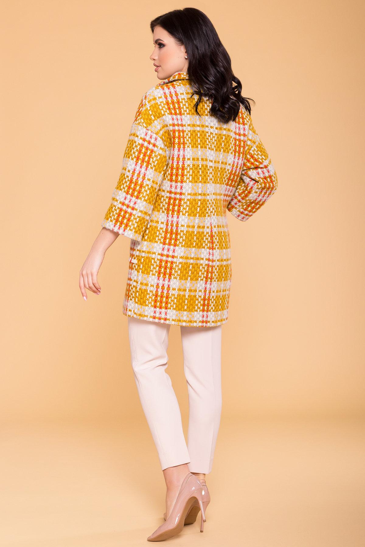 Пальто Бина 1964 АРТ. 38304 Цвет: Горчица/серый/молоко/терракот - фото 2, интернет магазин tm-modus.ru