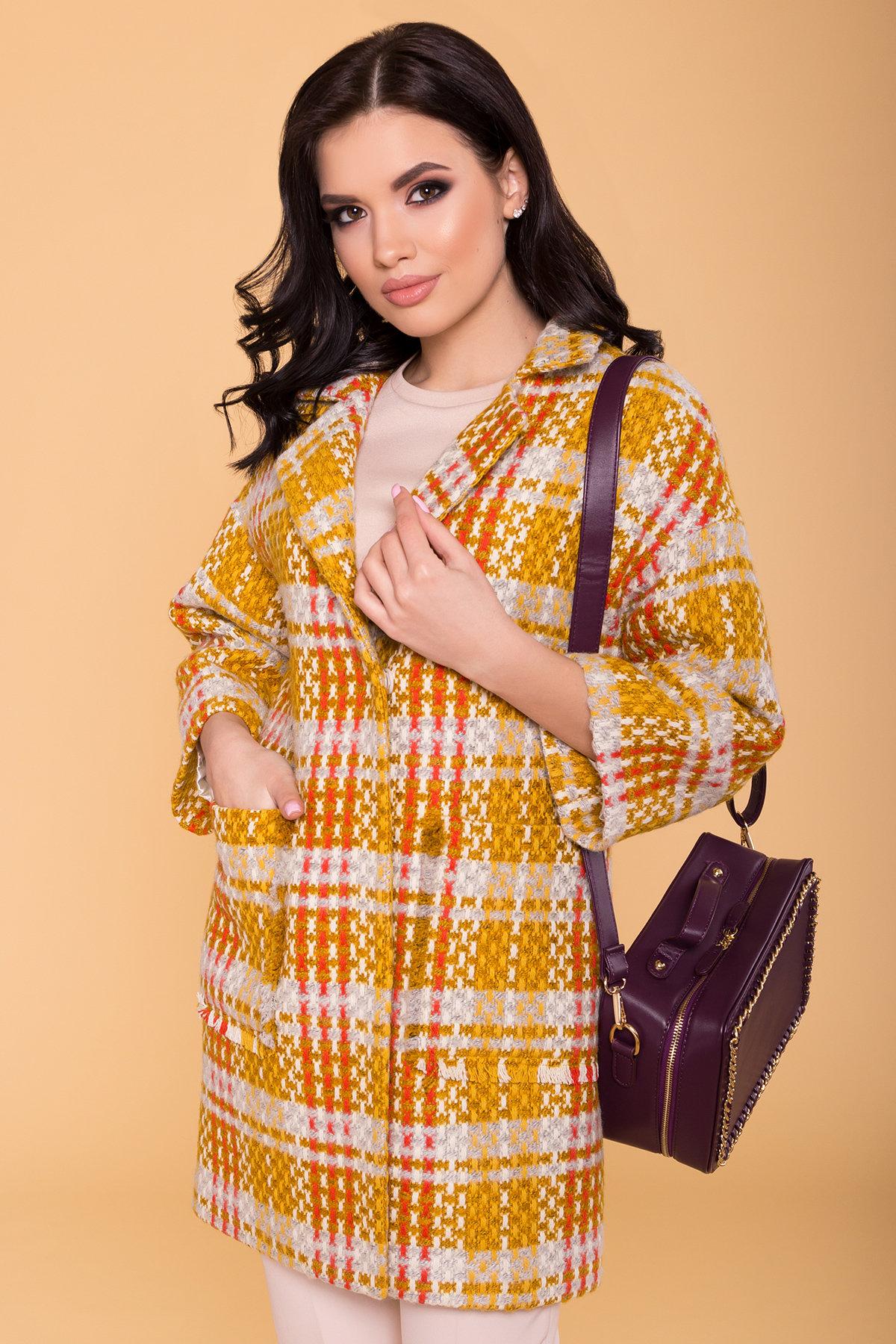 Пальто Бина 1964 АРТ. 38304 Цвет: Горчица/серый/молоко/терракот - фото 3, интернет магазин tm-modus.ru