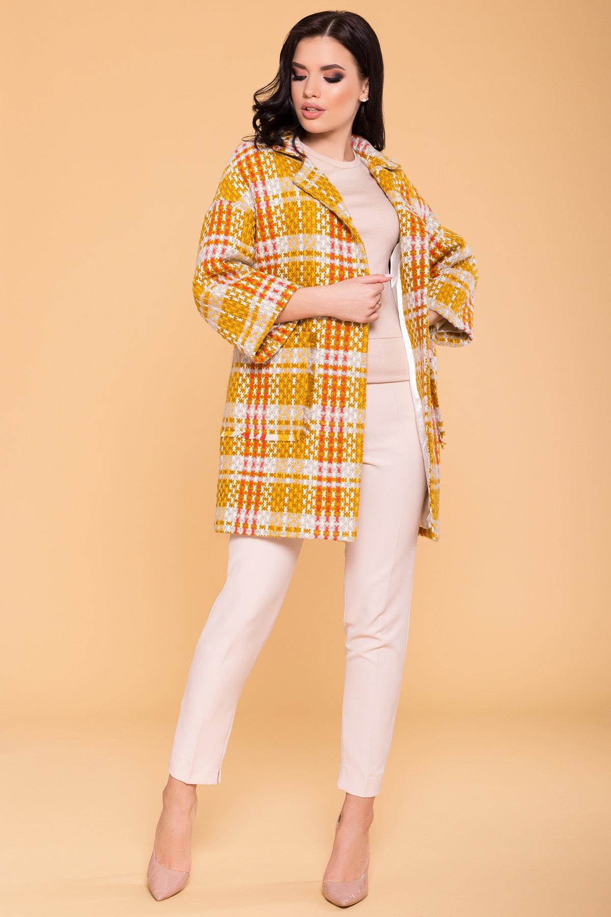 Пальто Бина 1964 АРТ. 38304 Цвет: Горчица/серый/молоко/терракот - фото 4, интернет магазин tm-modus.ru