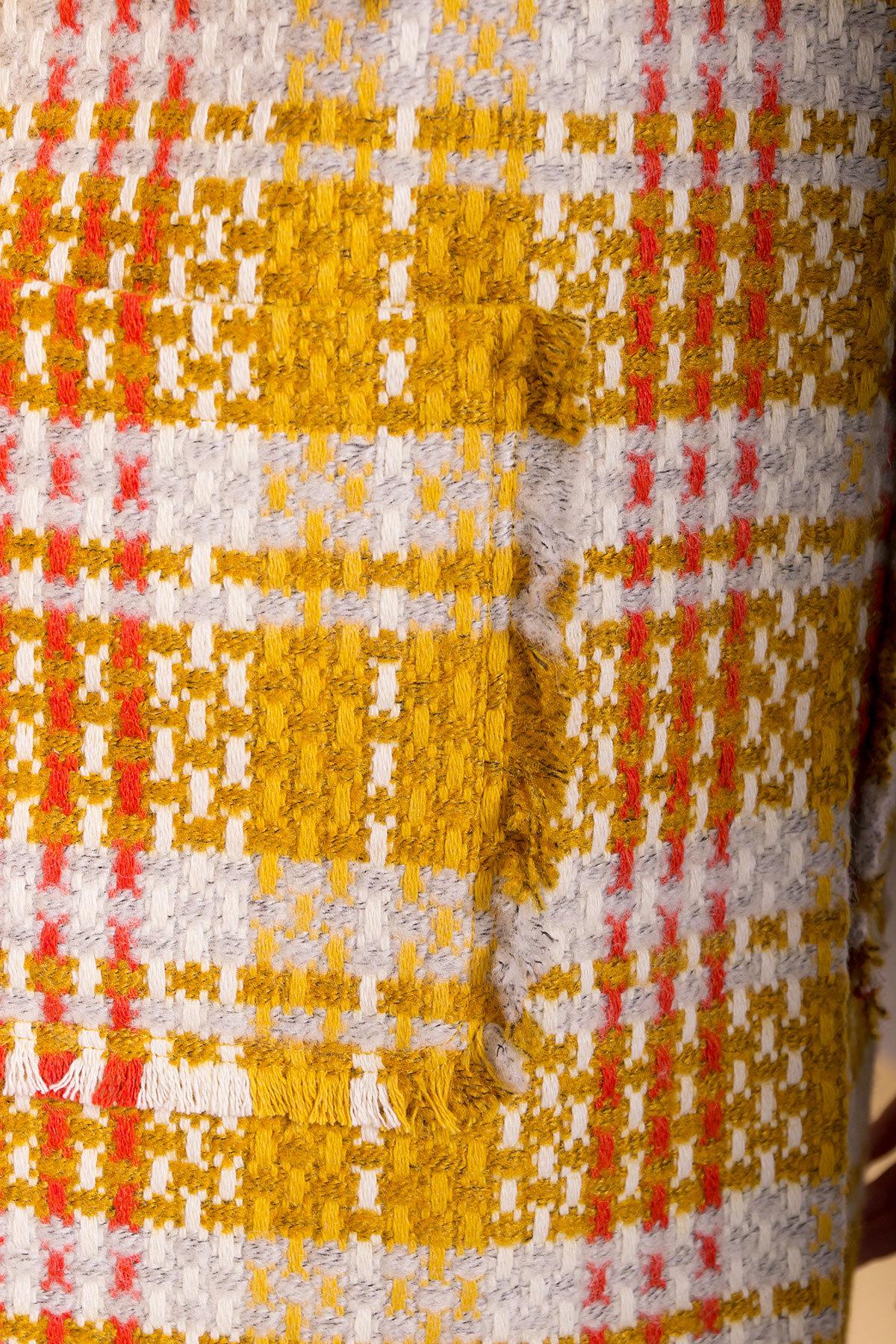 Пальто Бина 1964 АРТ. 38304 Цвет: Горчица/серый/молоко/терракот - фото 5, интернет магазин tm-modus.ru
