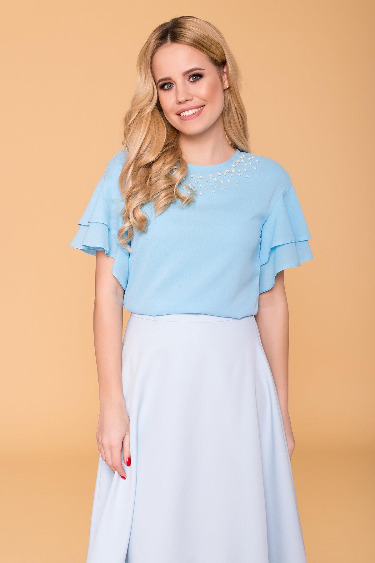 Блуза Мария 4882 АРТ. 34581 Цвет: Голубой - фото 3, интернет магазин tm-modus.ru