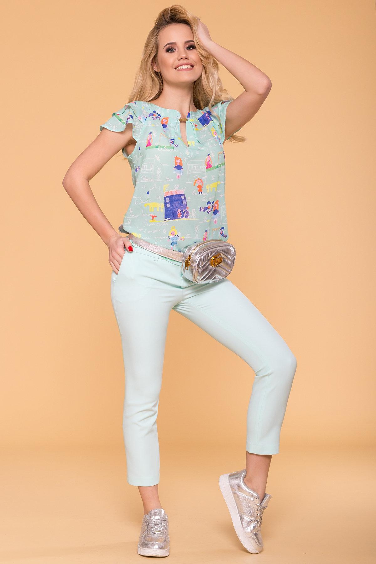 Блуза с принтом Инканто 3916 Цвет: Мята дет.рис.16/1