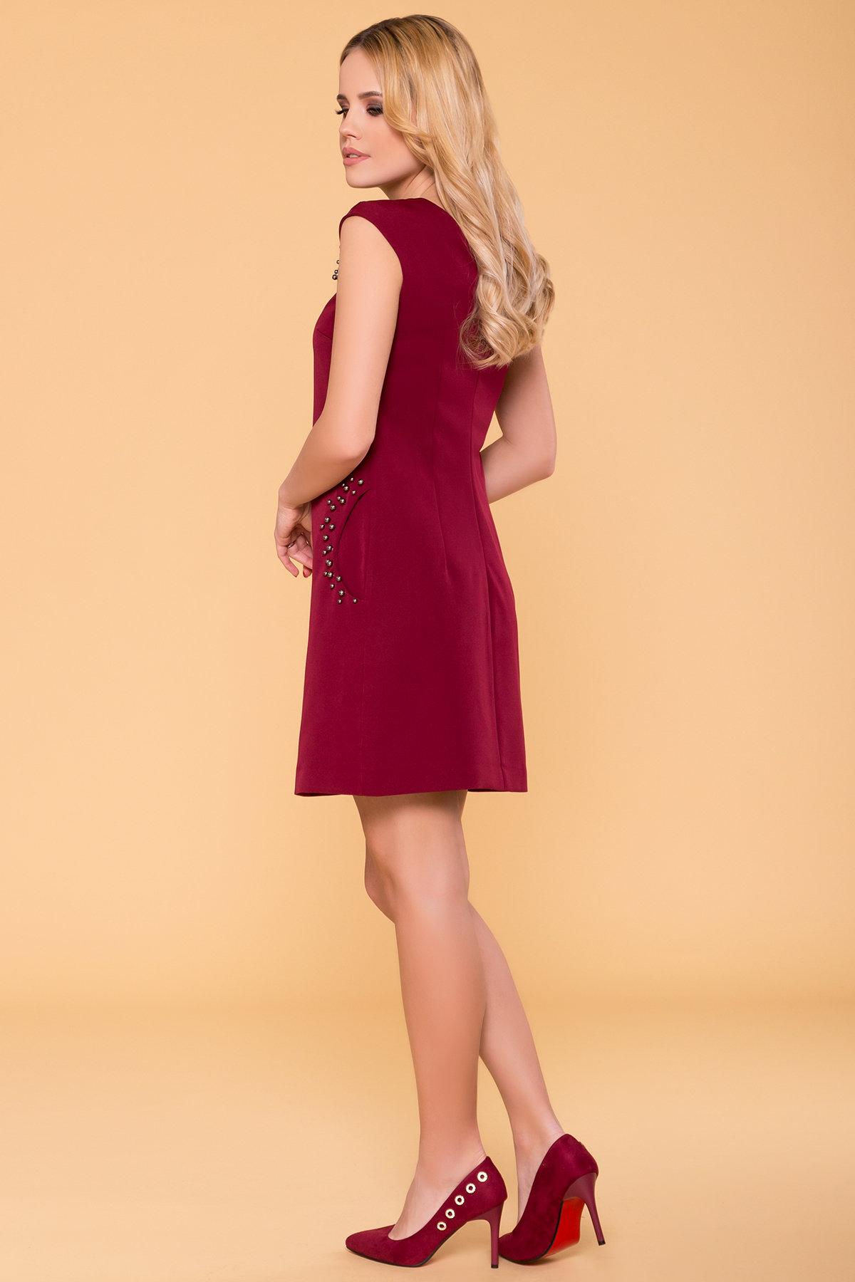 Платье с коротким рукавом Мими 4886 АРТ. 41436 Цвет: Марсала - фото 2, интернет магазин tm-modus.ru