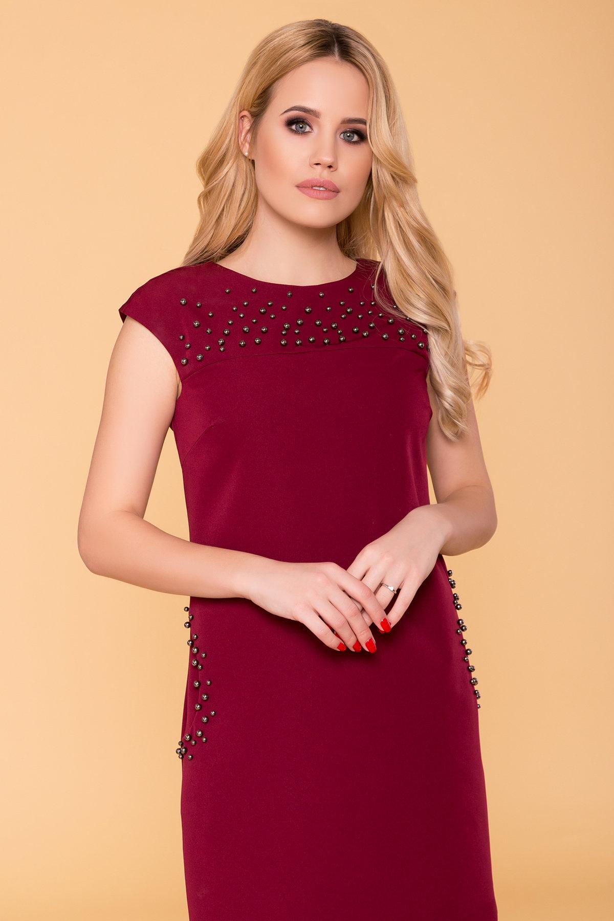 Платье с коротким рукавом Мими 4886 Цвет: Марсала