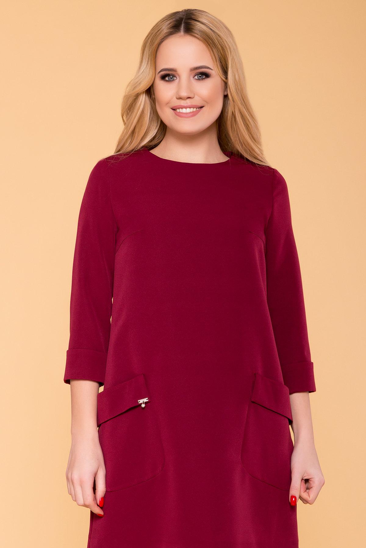 Прямое Платье с рукавом 3/4 Соул лайт 6483 АРТ. 41448 Цвет: Марсала - фото 3, интернет магазин tm-modus.ru
