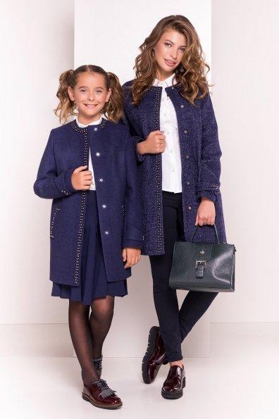 Пальто на весну с декором Анси 3429 Цвет: Темно-синий