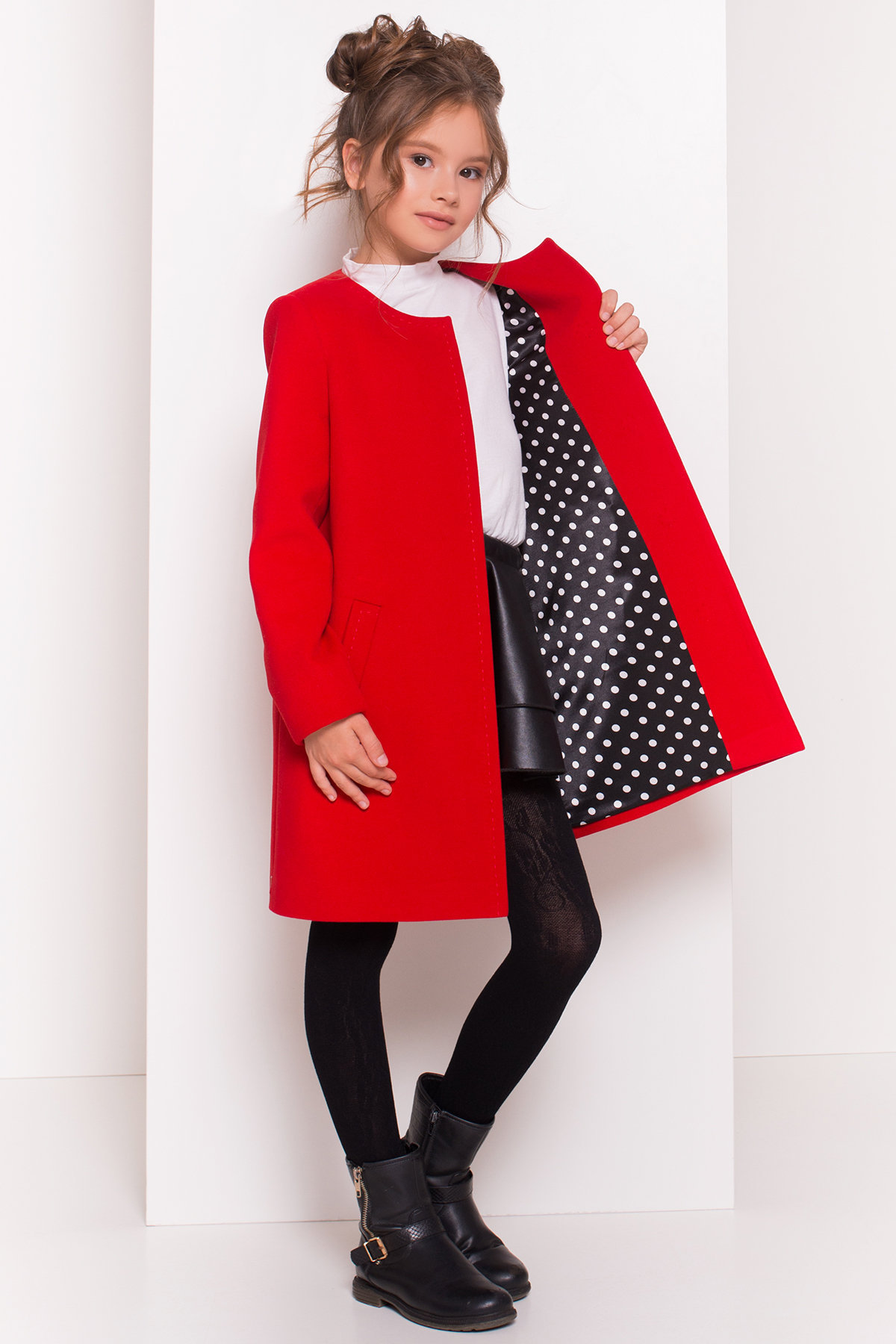 Пальто детское Чита 5297 АРТ. 38350 Цвет: Красный - фото 1, интернет магазин tm-modus.ru