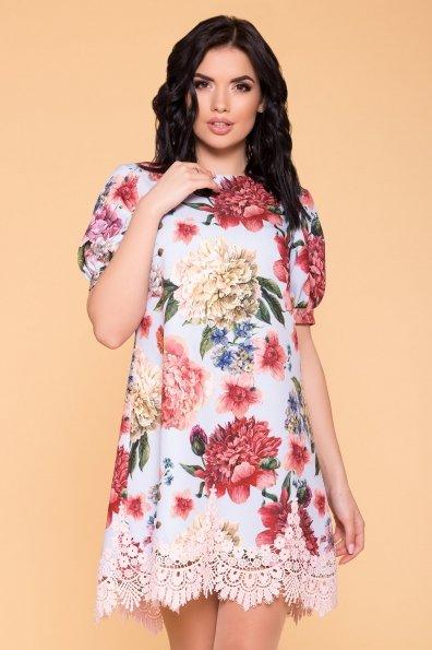Платье Лера 6487 Цвет: Голубой Пионы