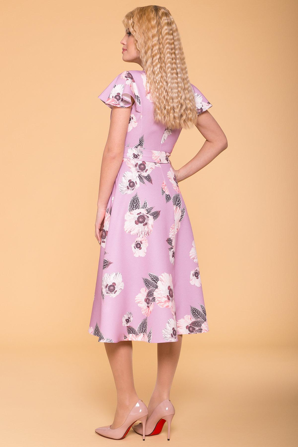 Платье Мидея 6523 Цвет: цветы пудра темная