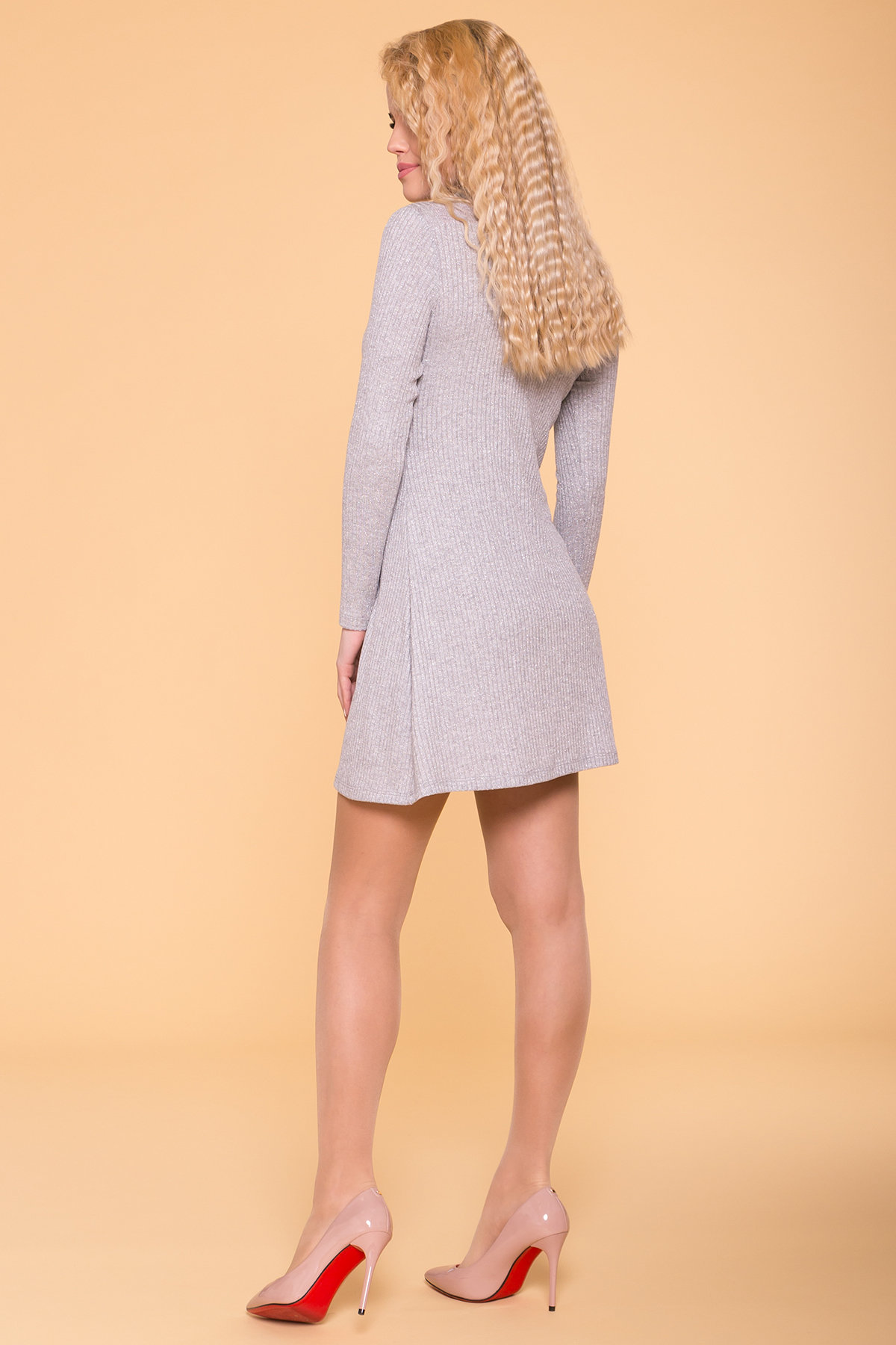 Мини Платье Капелини 6491 Цвет: Серый с люрексом 3