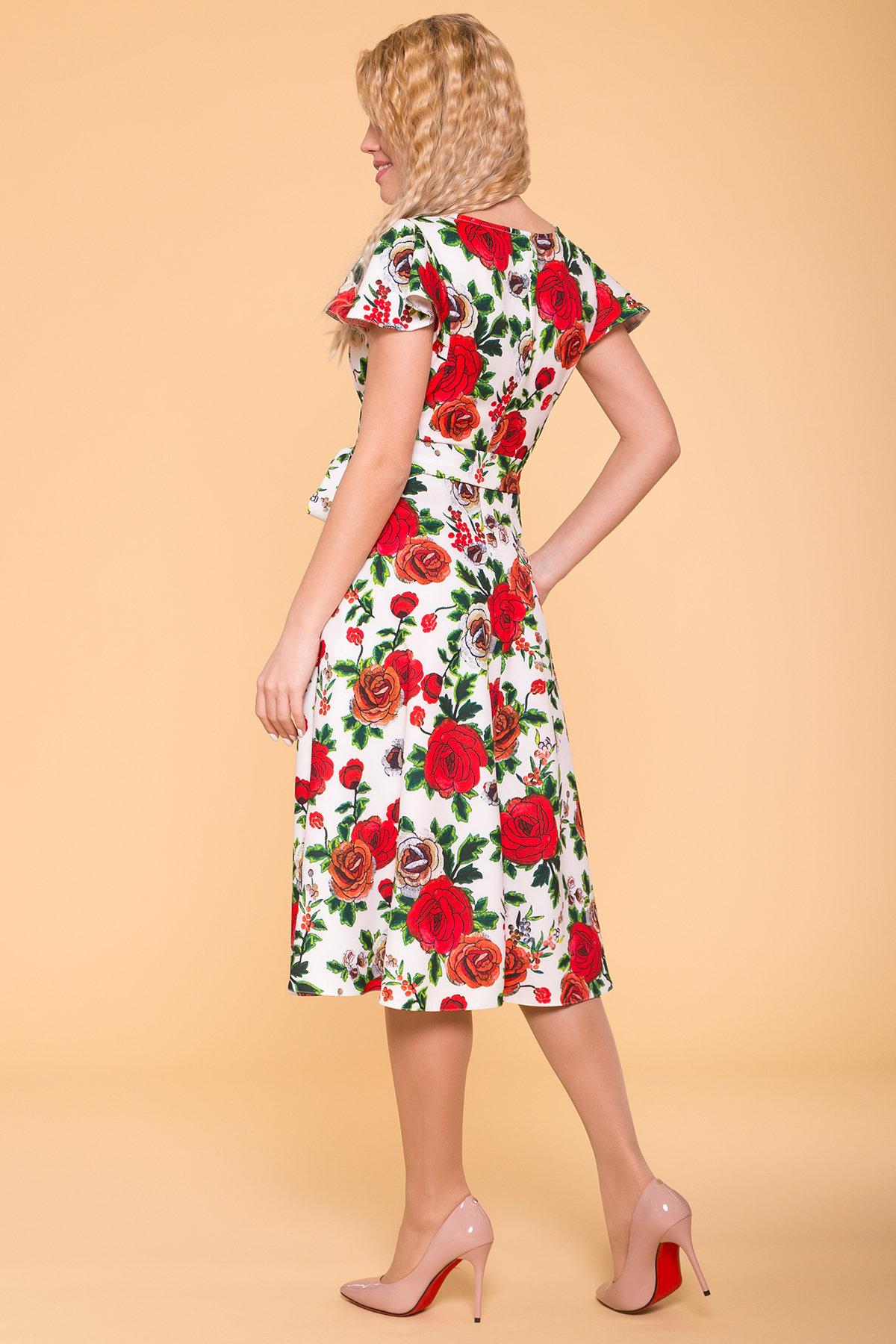 Платье Мидея 6523 АРТ. 41831 Цвет: Цветы комби молоко - фото 2, интернет магазин tm-modus.ru
