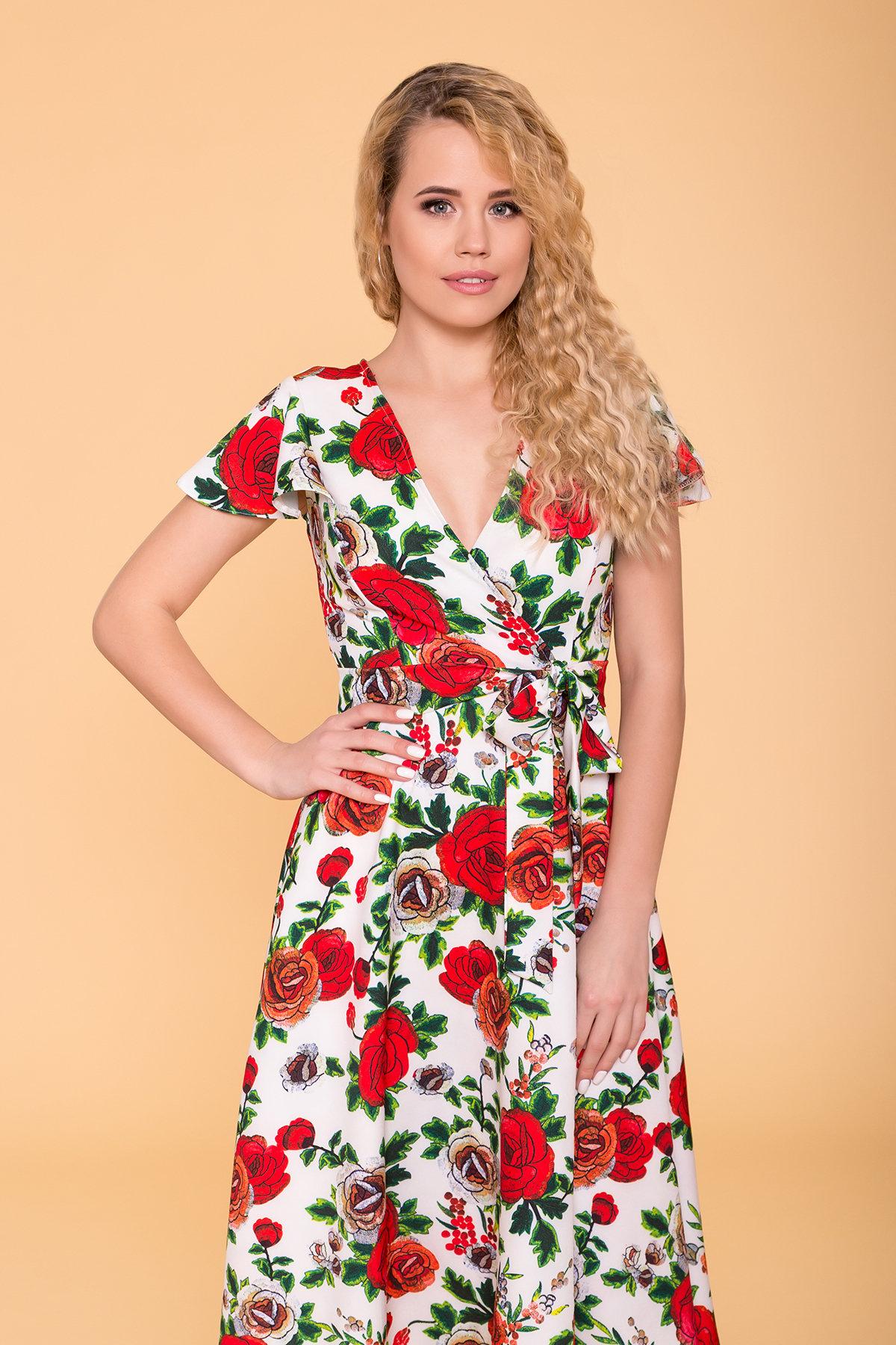 Платье Мидея 6523 АРТ. 41831 Цвет: Цветы комби молоко - фото 3, интернет магазин tm-modus.ru