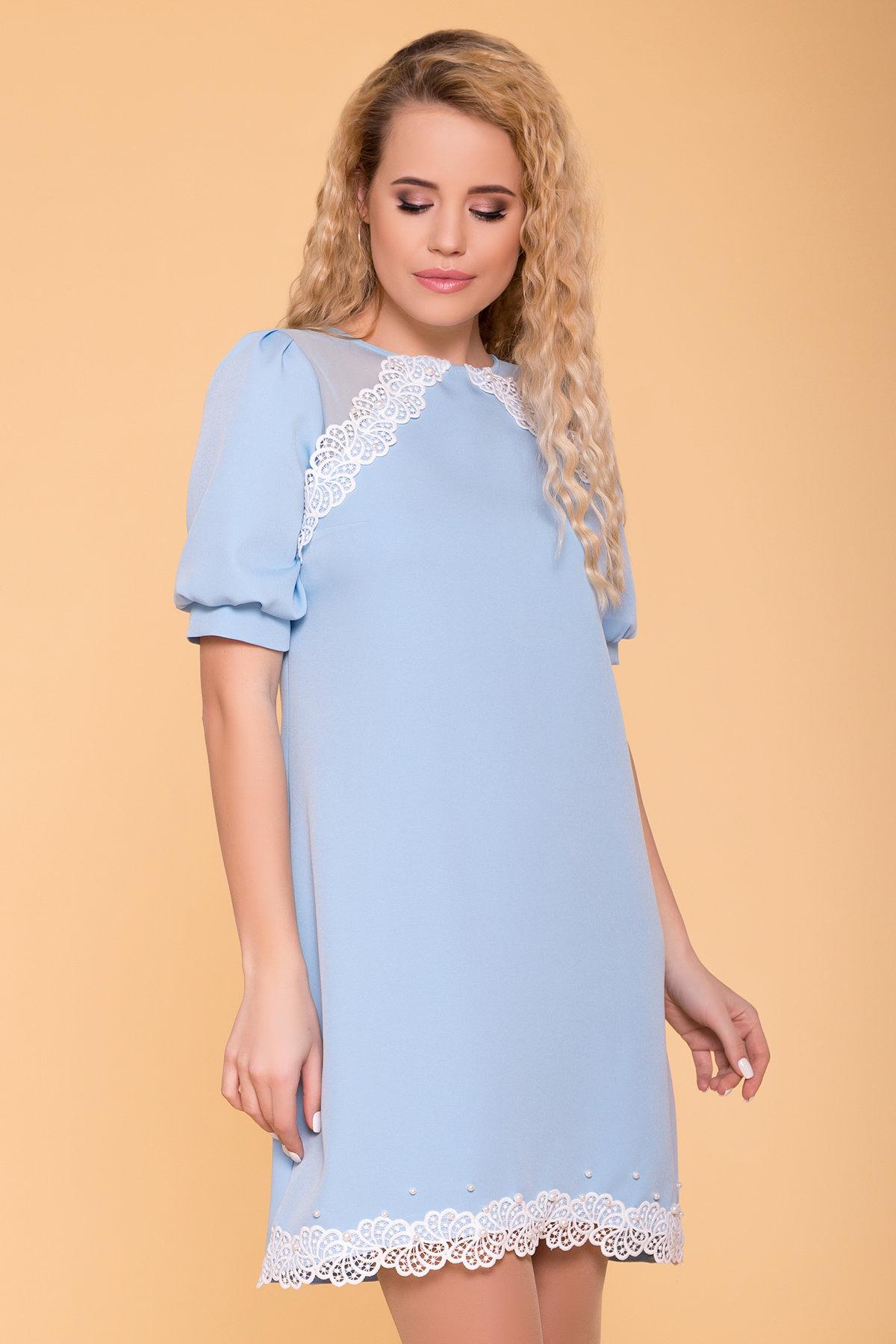 Платье с рукавом фонарик Алексис 6650 АРТ. 41755 Цвет: Голубой - фото 3, интернет магазин tm-modus.ru
