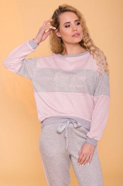 Трикотажный костюм с люрексом Фемили  6657 Цвет: Розовый/Серый светлый