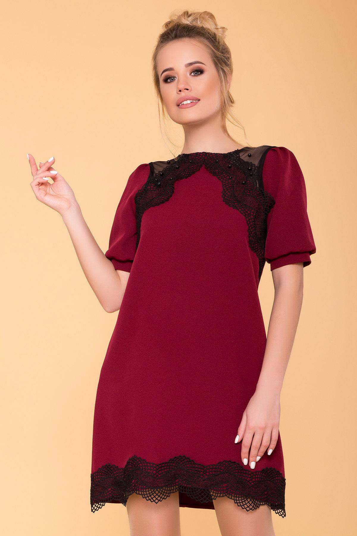 Платье с рукавом фонарик Алексис 6650 АРТ. 41758 Цвет: Марсала - фото 3, интернет магазин tm-modus.ru