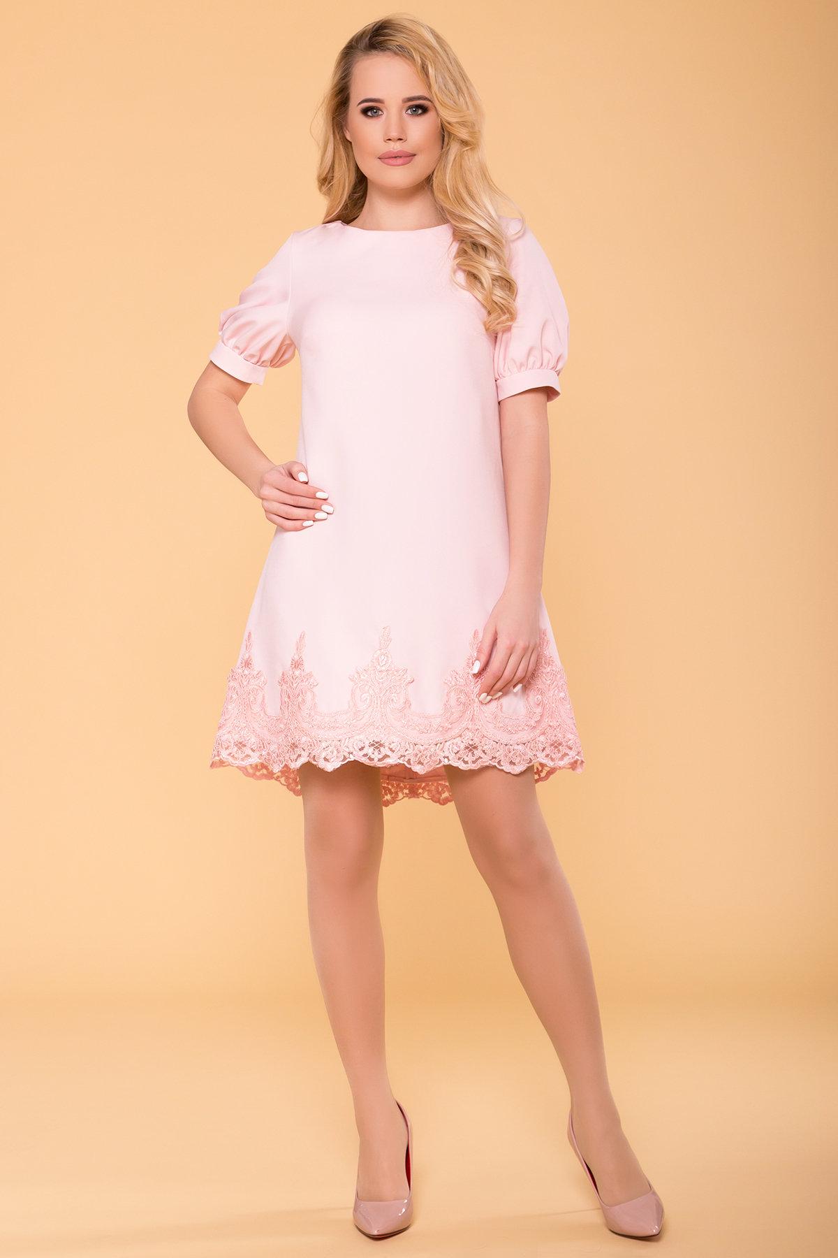 модное платье на весну Однотонное платье с рукавом фонарик Лера 6433