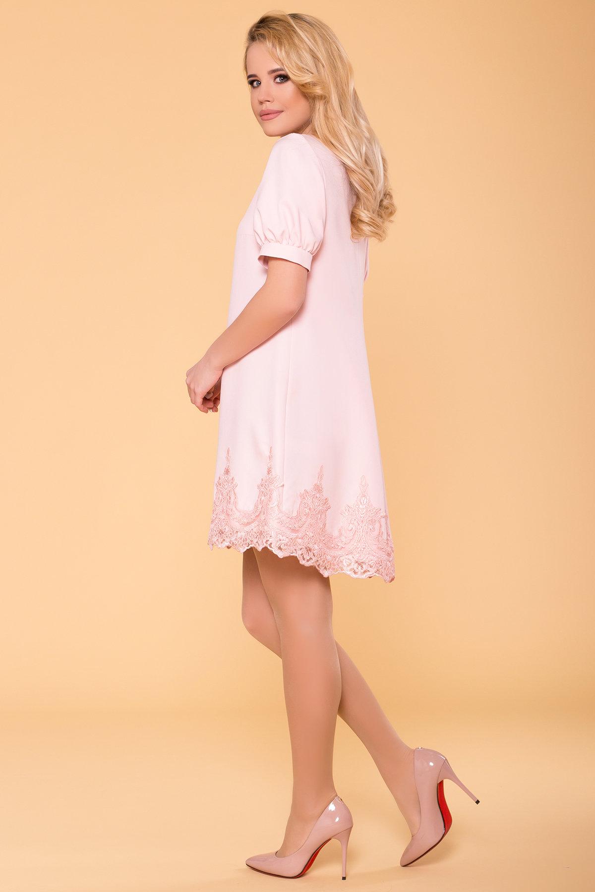 Однотонное платье с рукавом фонарик Лера 6433 АРТ. 41927 Цвет: Пудра светлая 11 - фото 2, интернет магазин tm-modus.ru