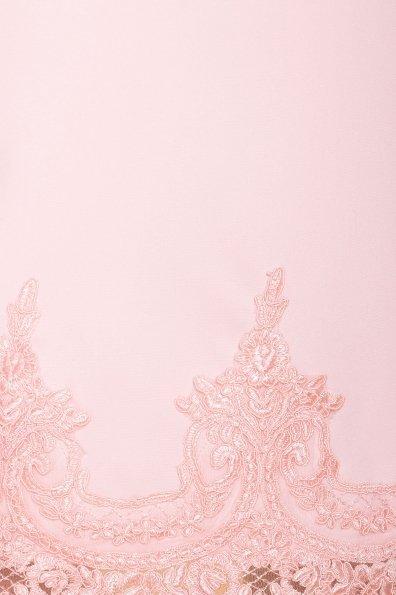 Однотонное платье с рукавом фонарик Лера 6433 Цвет: Пудра светлая 11