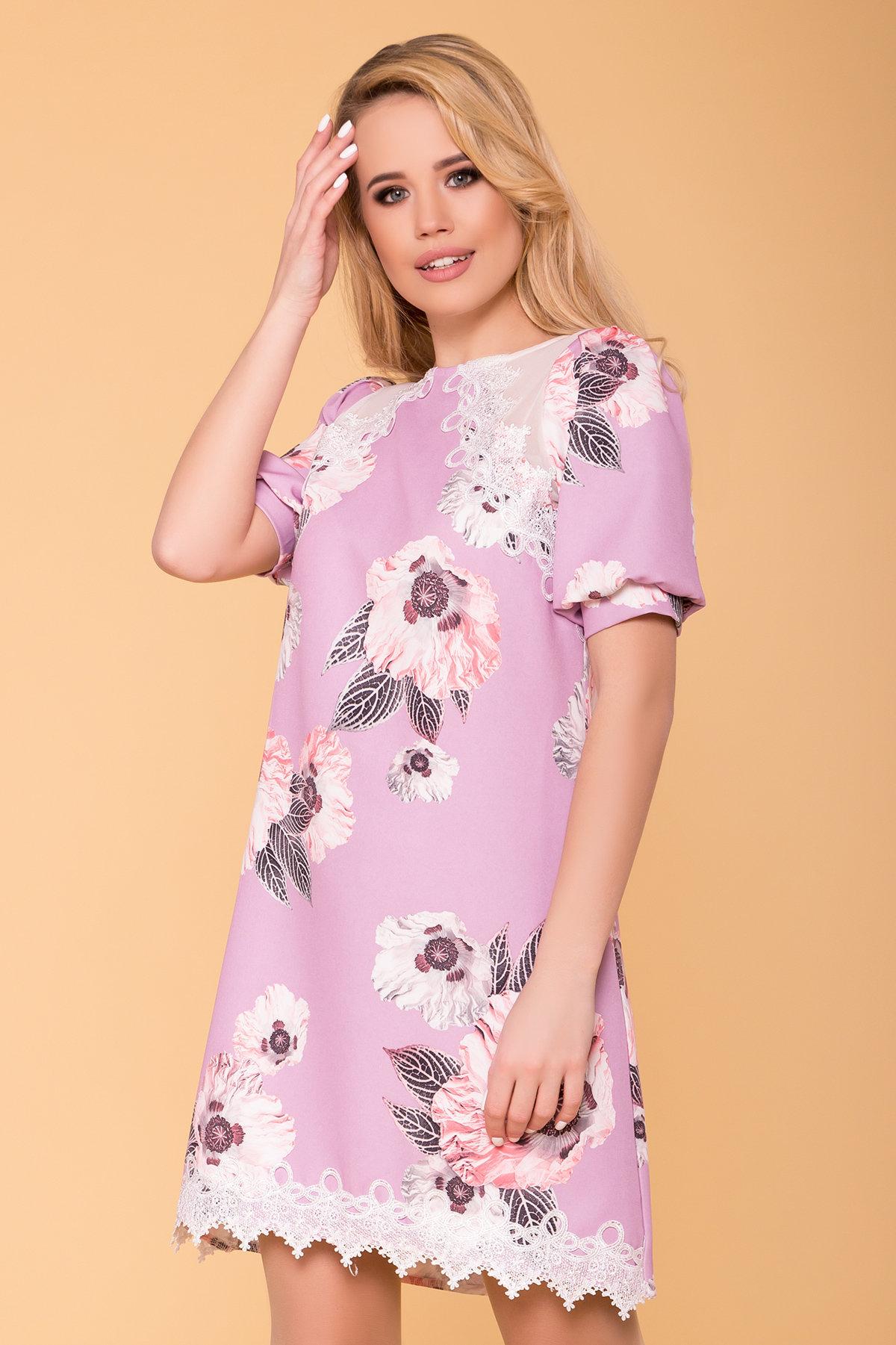 Платье Алексис 6752 АРТ. 41840 Цвет: цветы пудра темная - фото 3, интернет магазин tm-modus.ru