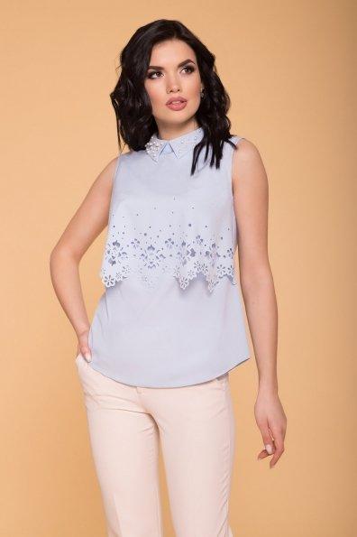 Блуза с пуговицами на спине Ларина 5190 Цвет: Голубой