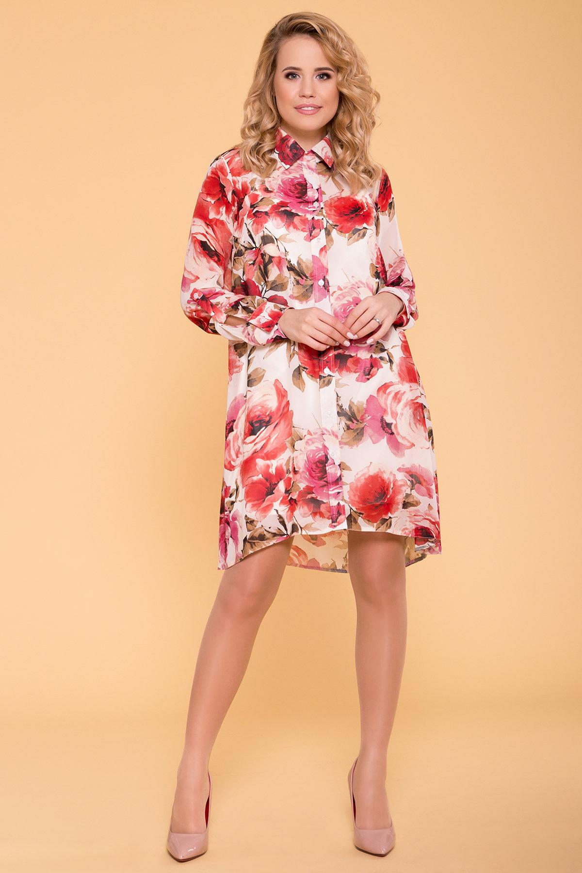 Платье-рубашка Сохо 6783 Цвет: Розы молоко/коралл/молоко