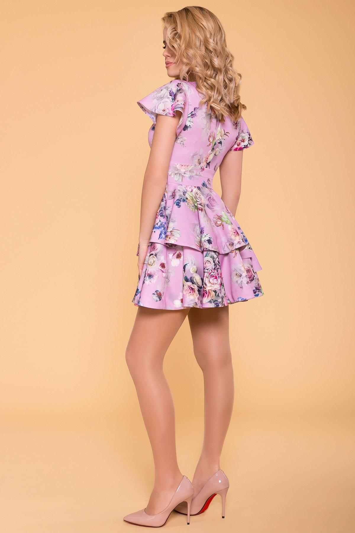 Платье Симур 6785 АРТ. 41882 Цвет: цветы пудра темная - фото 2, интернет магазин tm-modus.ru