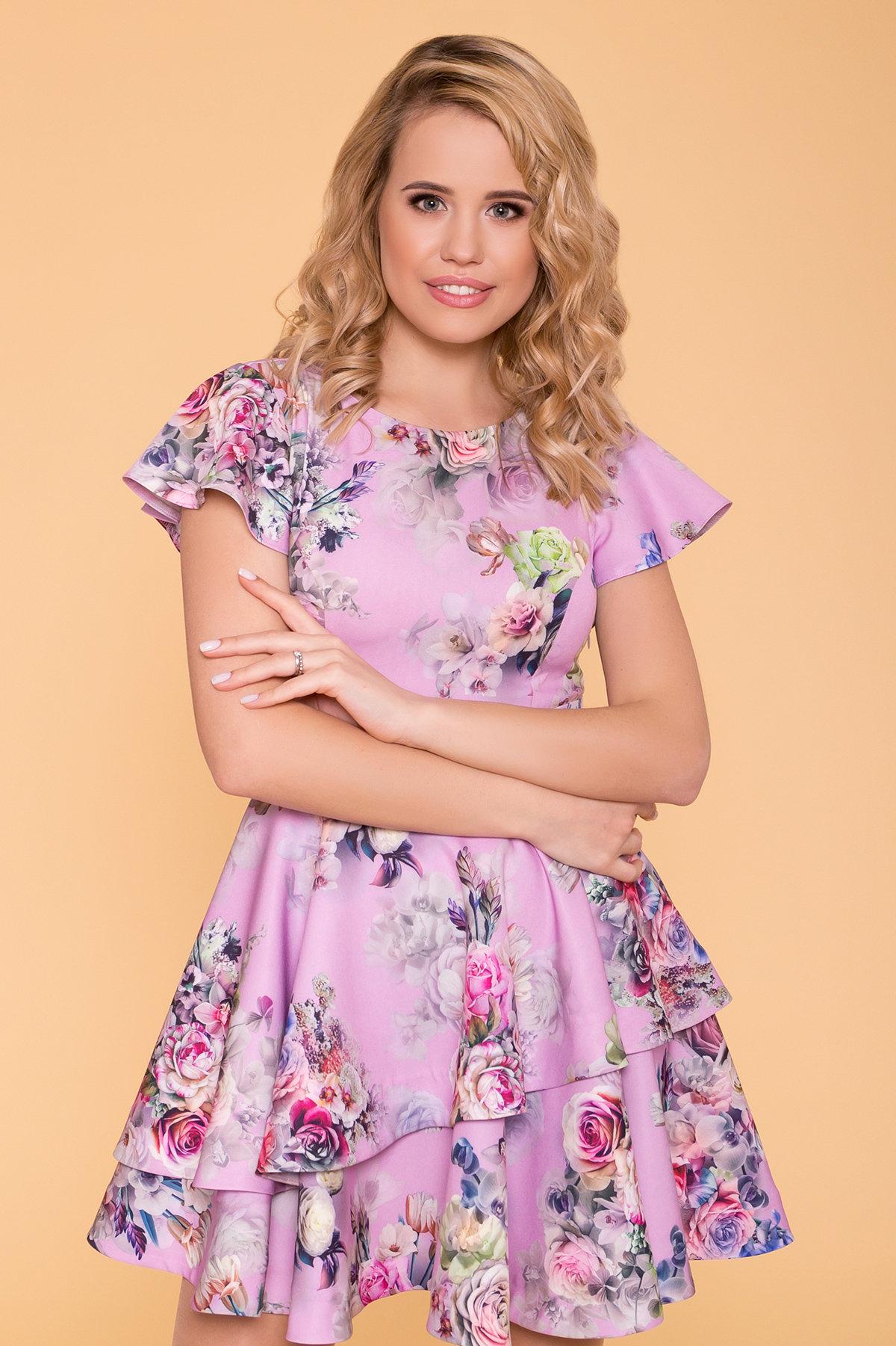 Платье Симур 6785 АРТ. 41882 Цвет: цветы пудра темная - фото 3, интернет магазин tm-modus.ru