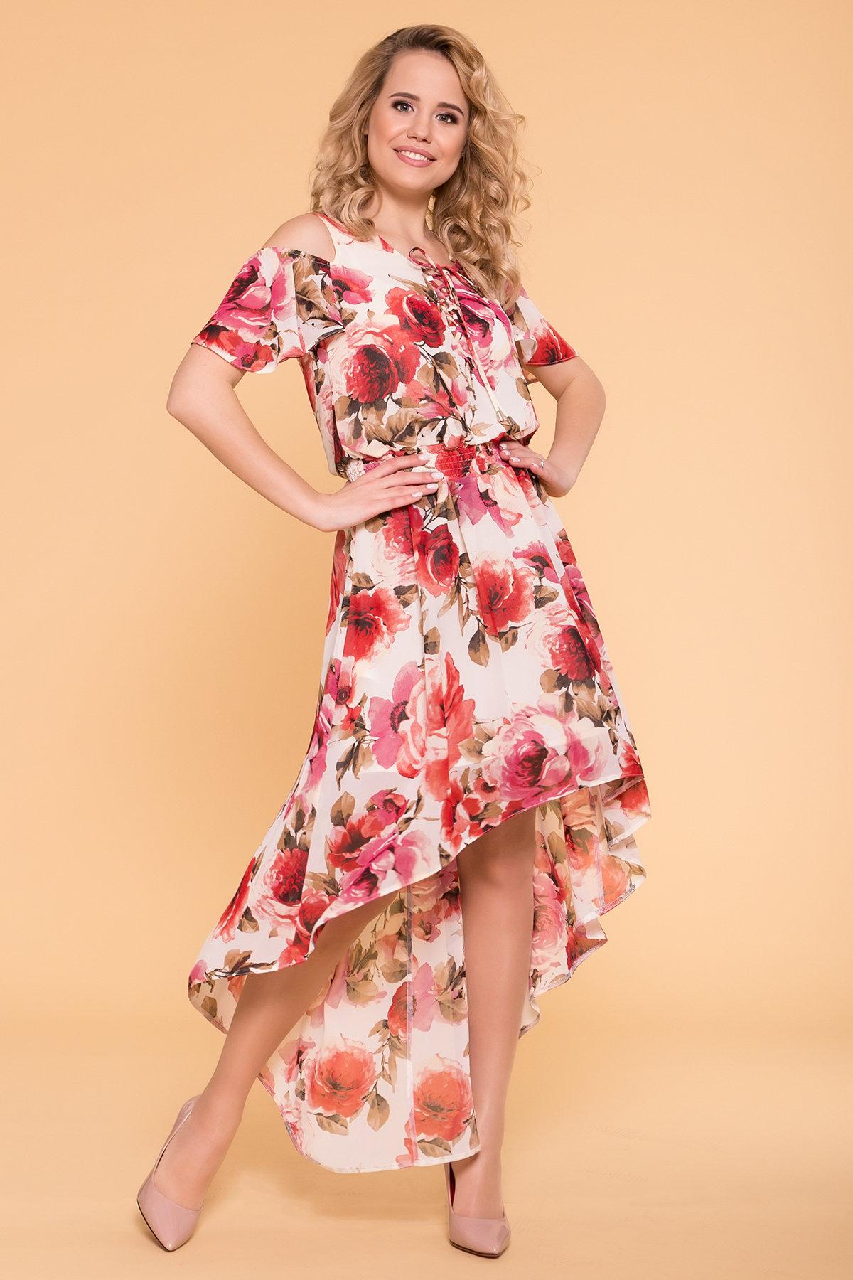 Платье Фрезия 5072 АРТ. 42003 Цвет: Розы молоко/коралл - фото 2, интернет магазин tm-modus.ru