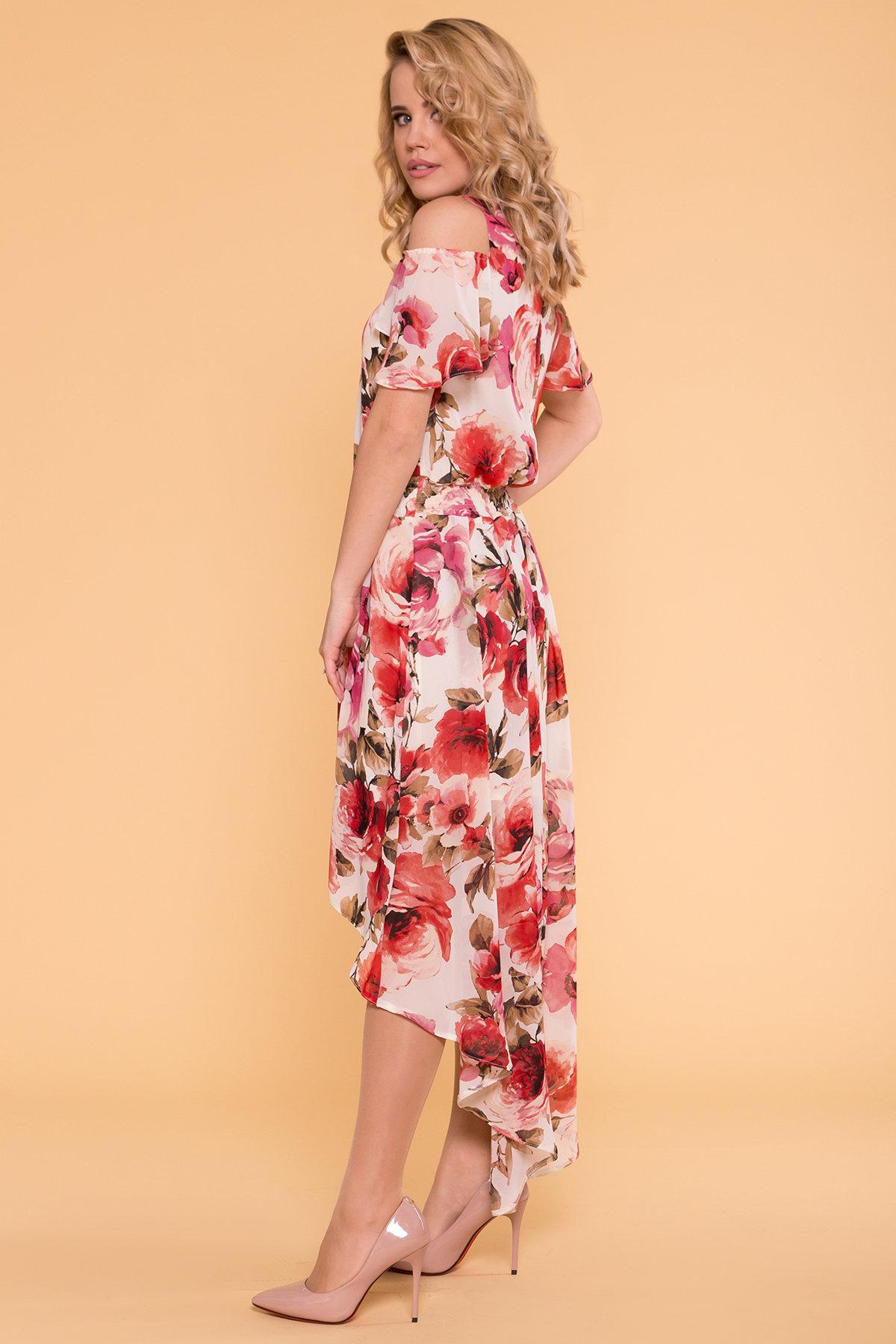 Платье Фрезия 5072 АРТ. 42003 Цвет: Розы молоко/коралл - фото 4, интернет магазин tm-modus.ru