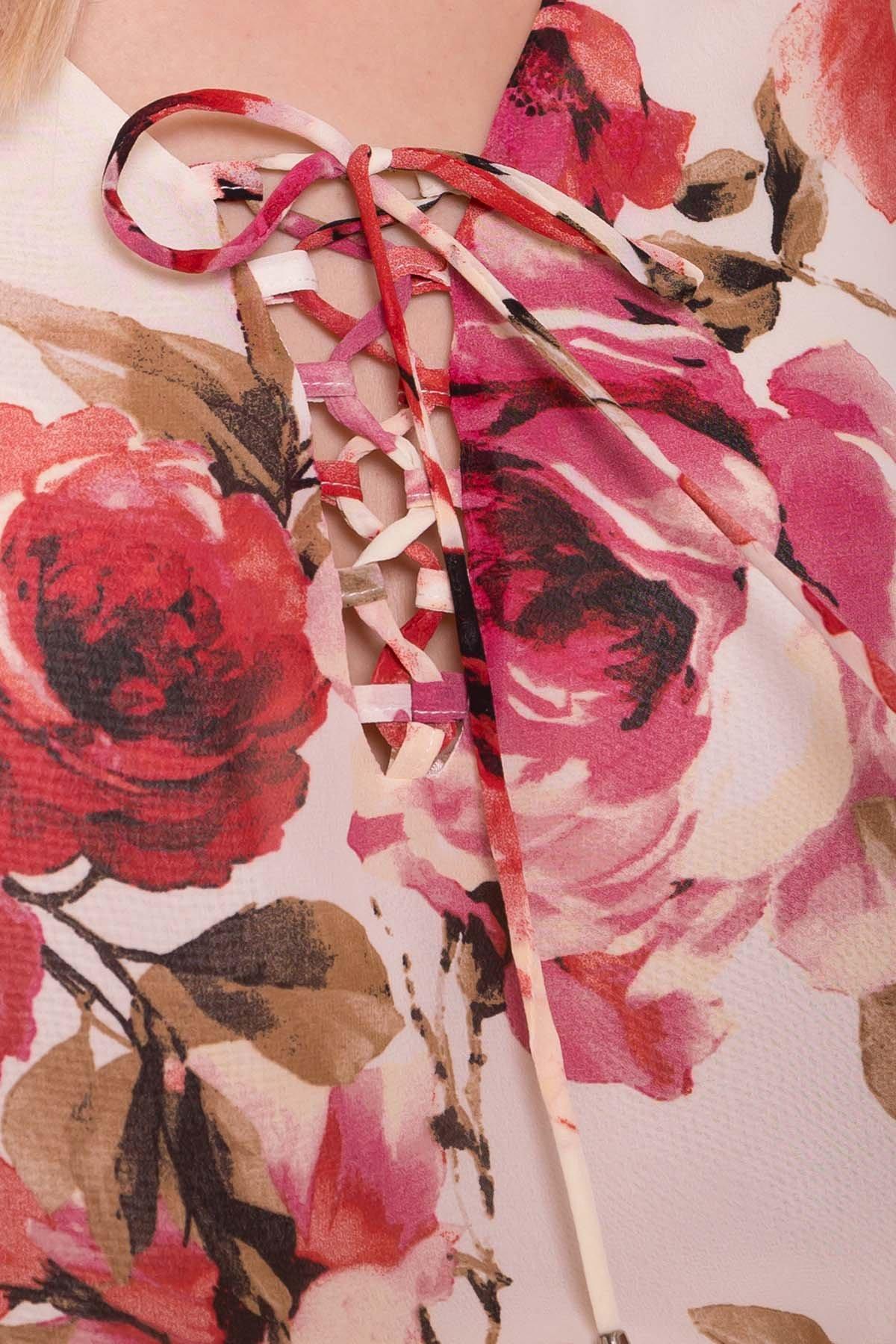 Платье Фрезия 5072 Цвет: Розы молоко/коралл