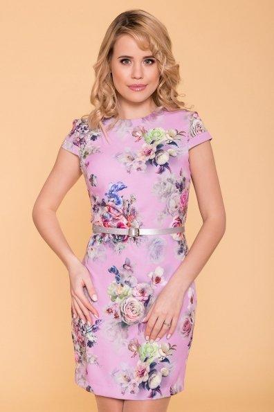 Платье Пиония лайт 942 Цвет: Цветы комби сирень