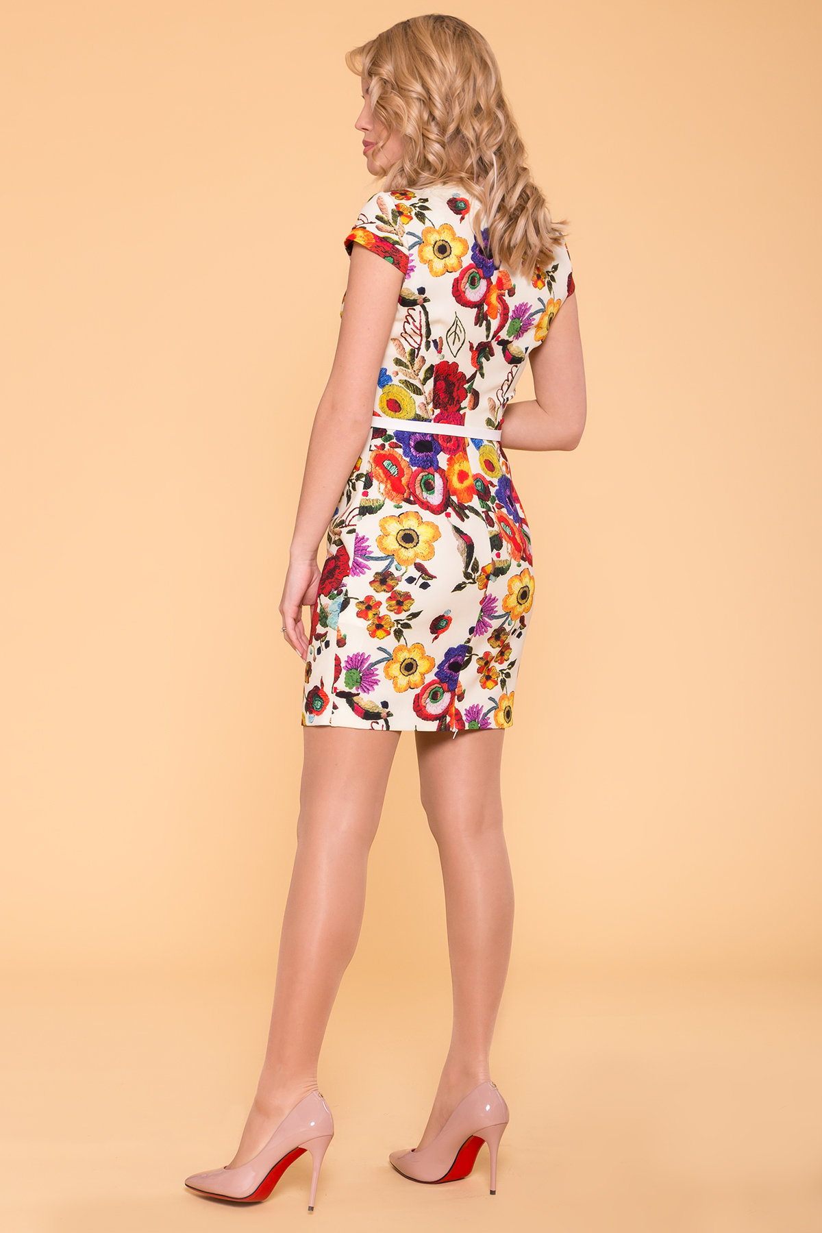 Платье Пиония лайт 942 АРТ. 42007 Цвет: Цветы комби молоко - фото 2, интернет магазин tm-modus.ru