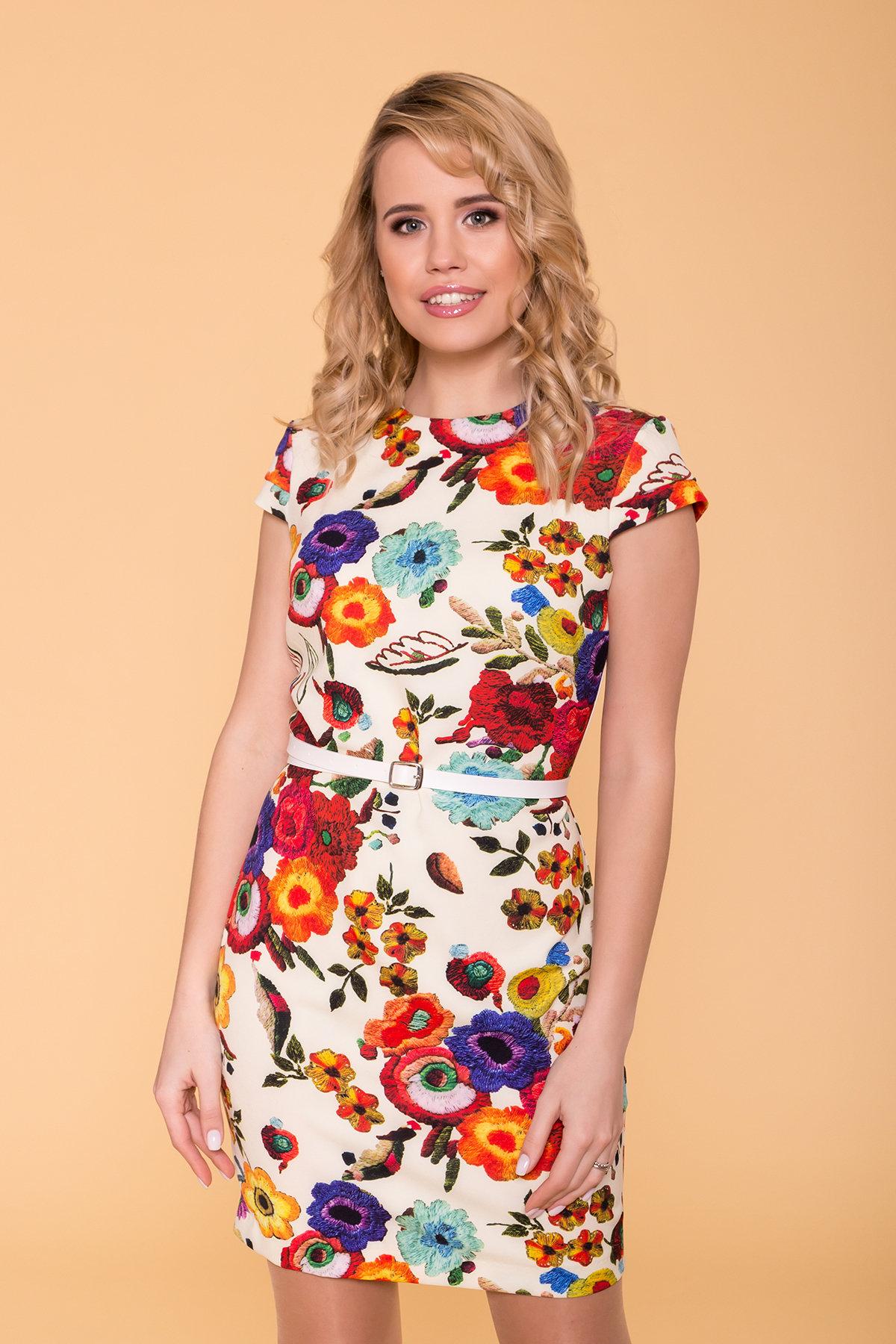 Платье Пиония лайт 942 АРТ. 42007 Цвет: Цветы комби молоко - фото 3, интернет магазин tm-modus.ru