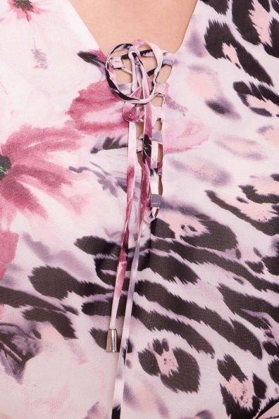 Платье Фрезия 5072 Цвет: Леопард цветы молоко/ пудра