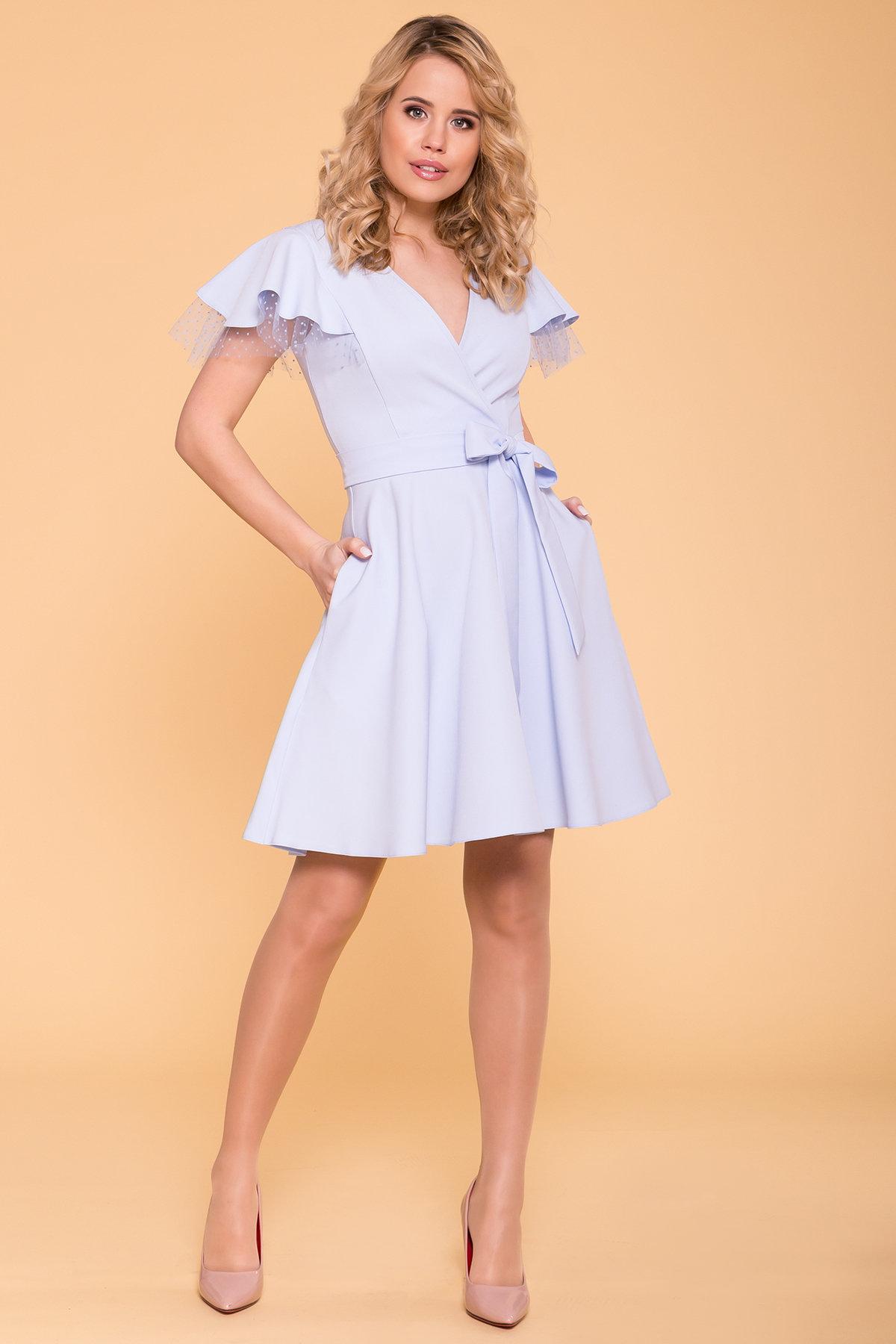 Платье с воланами на плечах Милея 6788 АРТ. 42017 Цвет: Голубой - фото 1, интернет магазин tm-modus.ru