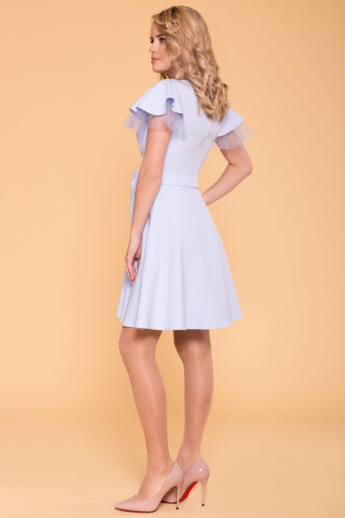 Платье с воланами на плечах Милея 6788 АРТ. 42017 Цвет: Голубой - фото 3, интернет магазин tm-modus.ru