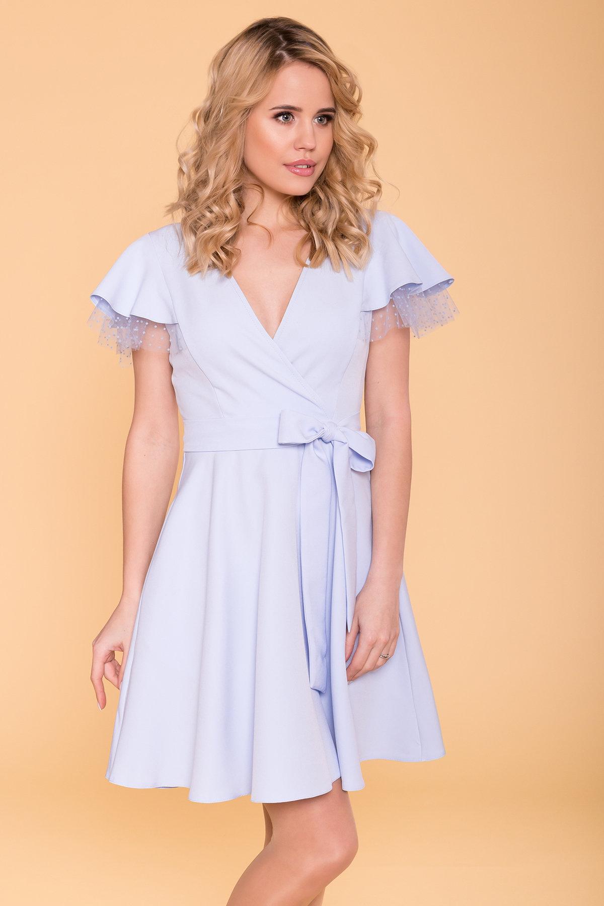 Платье с воланами на плечах Милея 6788 АРТ. 42017 Цвет: Голубой - фото 5, интернет магазин tm-modus.ru