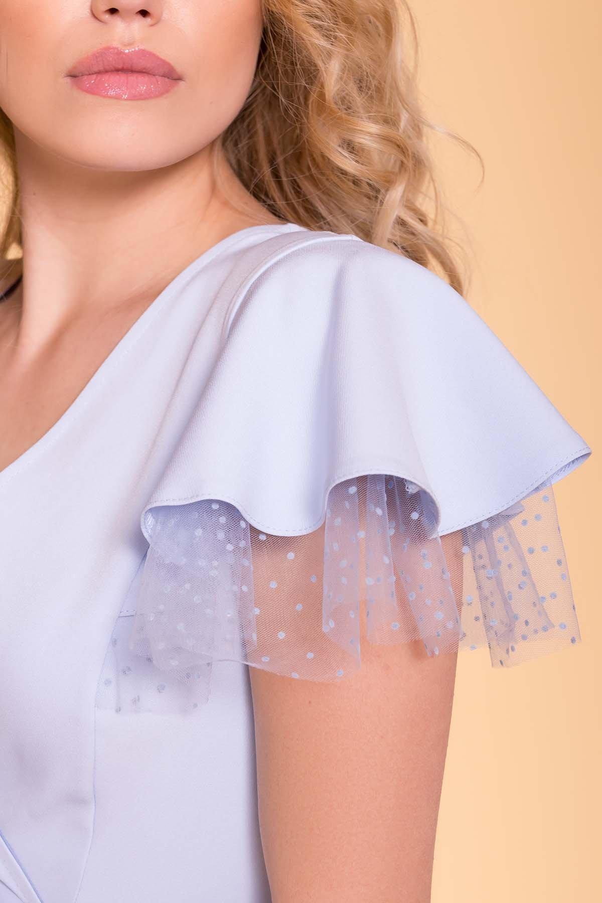 Платье с воланами на плечах Милея 6788 АРТ. 42017 Цвет: Голубой - фото 7, интернет магазин tm-modus.ru