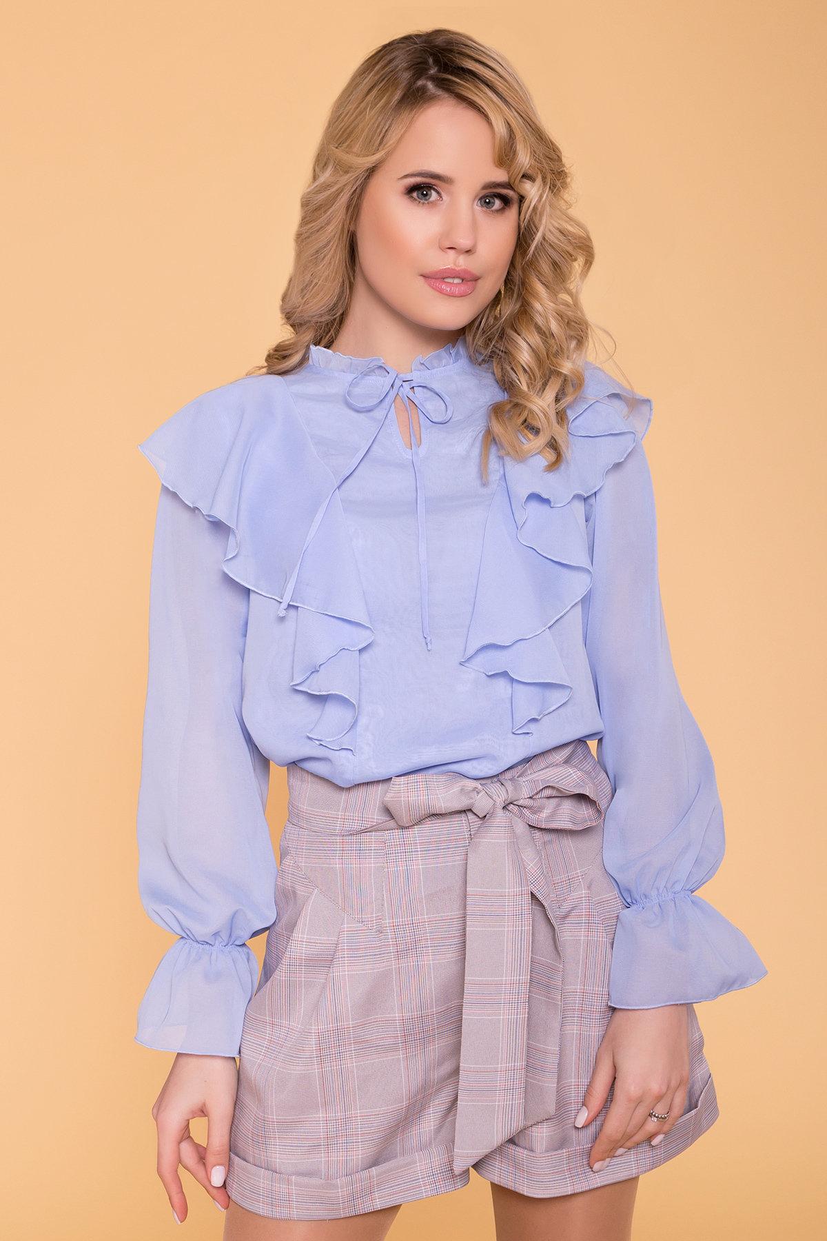 Шифоновая блуза с рюшами Дайан 6754 Цвет: Голубой