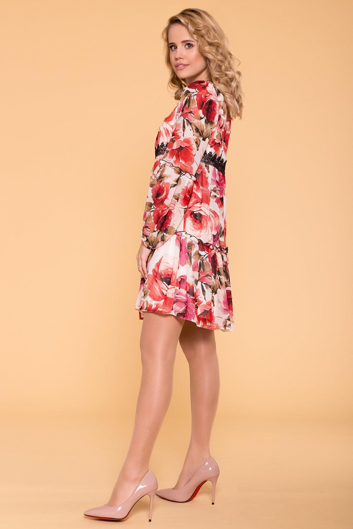 Платье Лотти 6492 АРТ. 41968 Цвет: Розы молоко/коралл/молоко - фото 2, интернет магазин tm-modus.ru