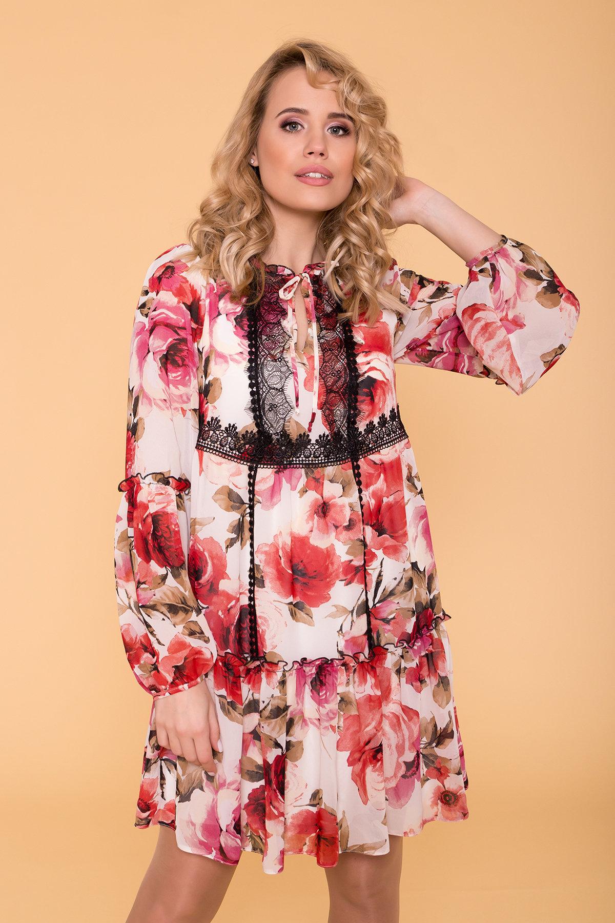 Платье Лотти 6492 АРТ. 41968 Цвет: Розы молоко/коралл/молоко - фото 3, интернет магазин tm-modus.ru