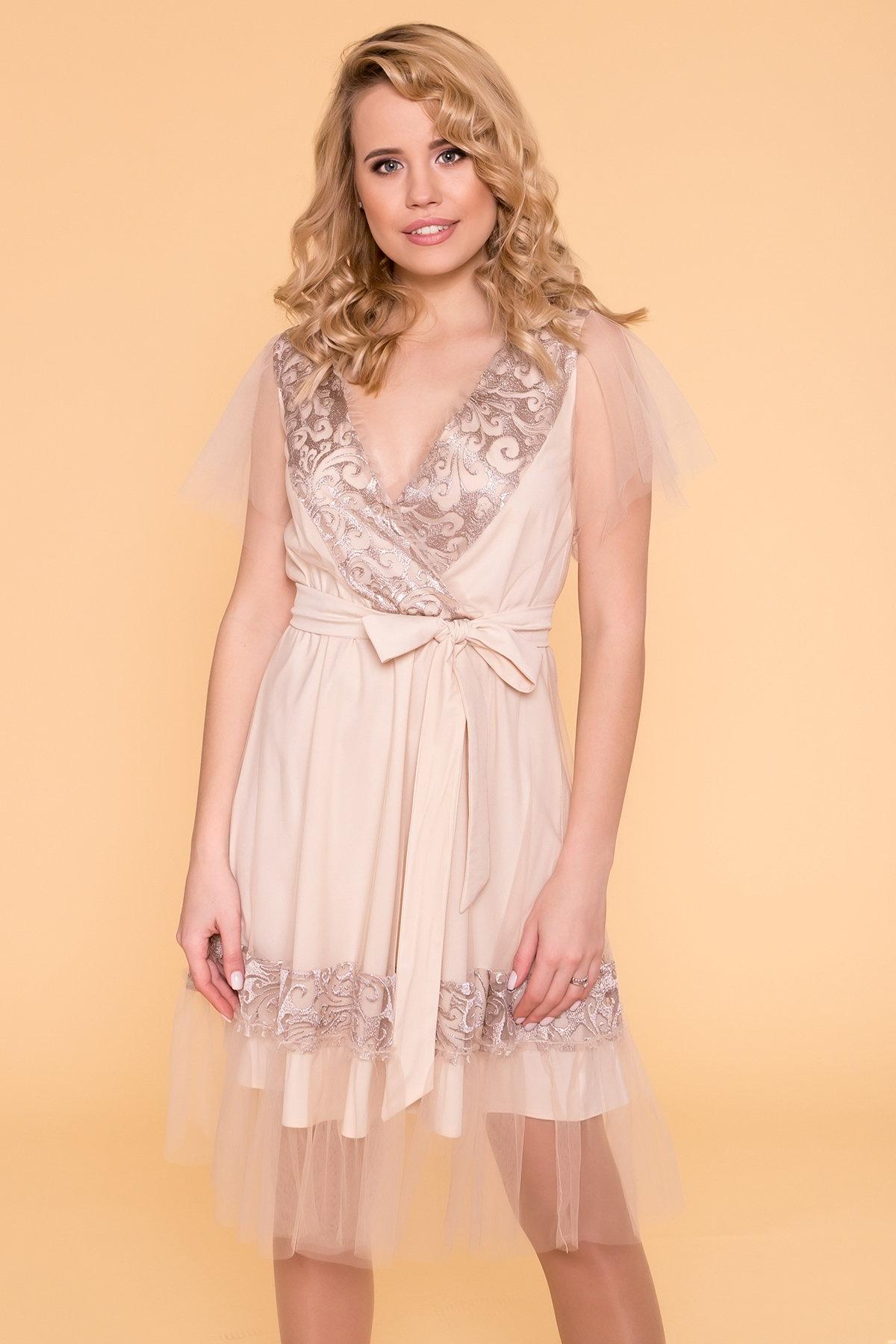 Платье Риана 6701 АРТ. 41937 Цвет: Бежевый/бежевый/бежевый - фото 3, интернет магазин tm-modus.ru