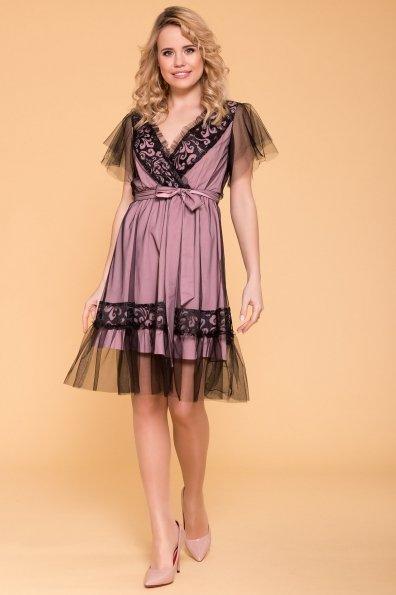 Платье Риана 6701 Цвет: Серо-розовый/черный/черн