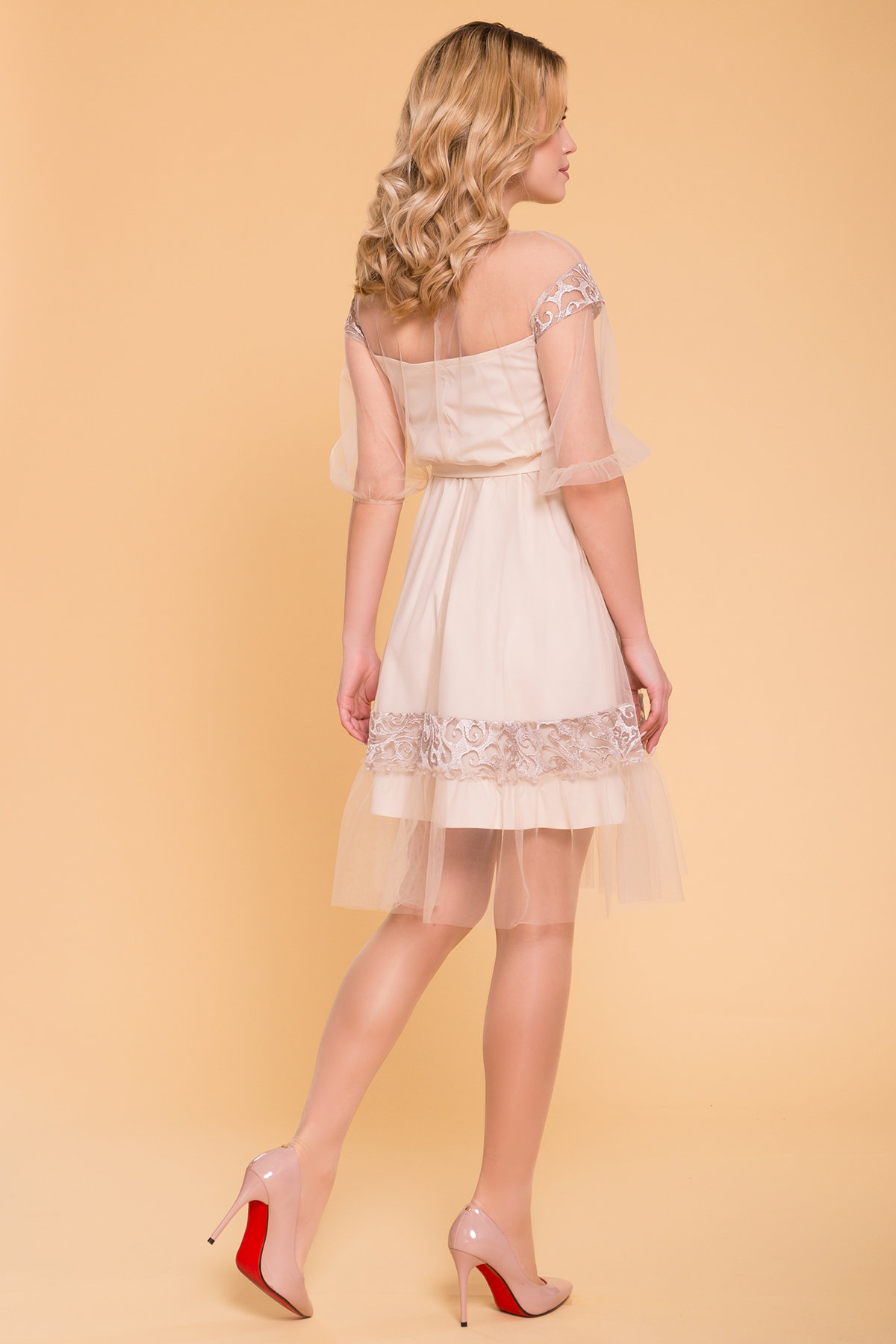 Нарядное Платье Фая 6649 Цвет: Бежевый
