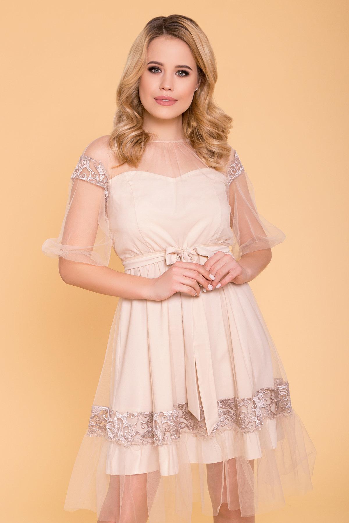 Нарядное Платье Фая 6649 АРТ. 41935 Цвет: Бежевый - фото 3, интернет магазин tm-modus.ru