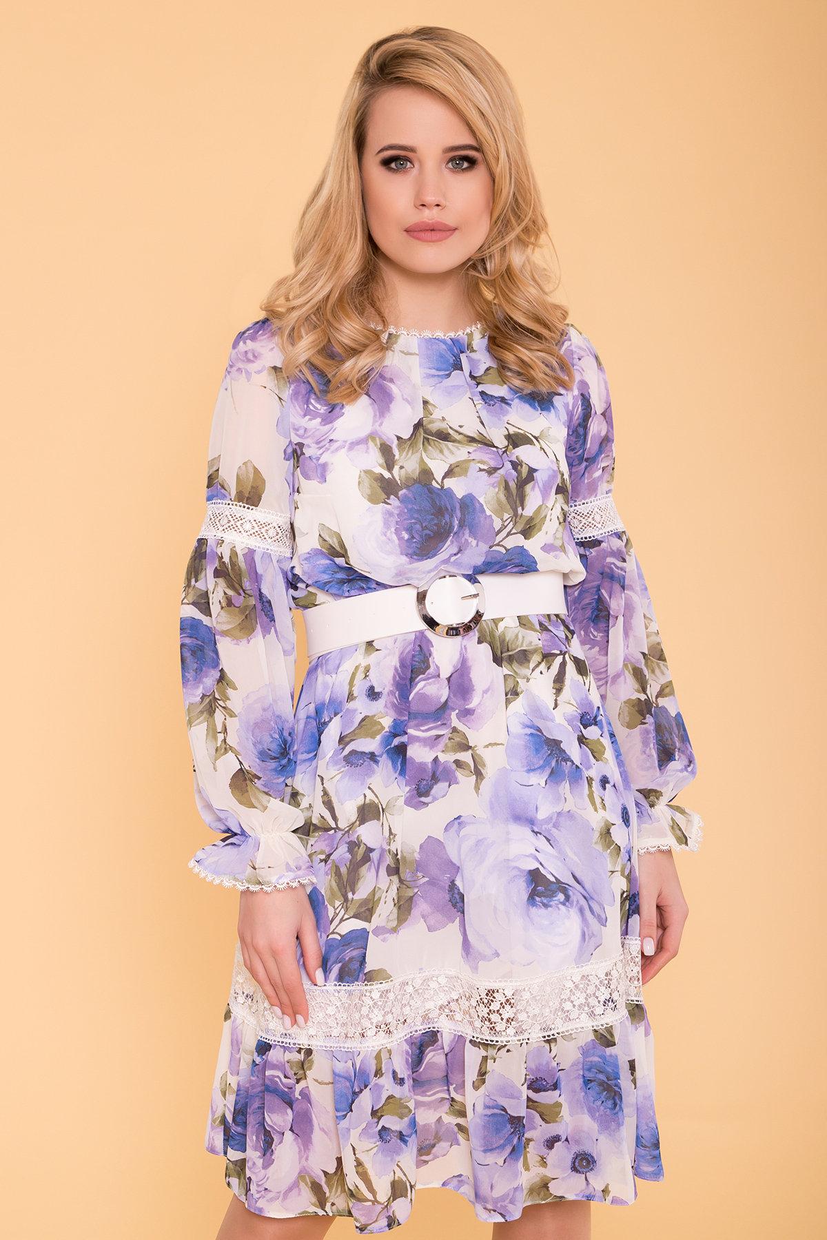 Платье Санем 6587 АРТ. 41976 Цвет: Розы молоко/голубой/молоко - фото 3, интернет магазин tm-modus.ru