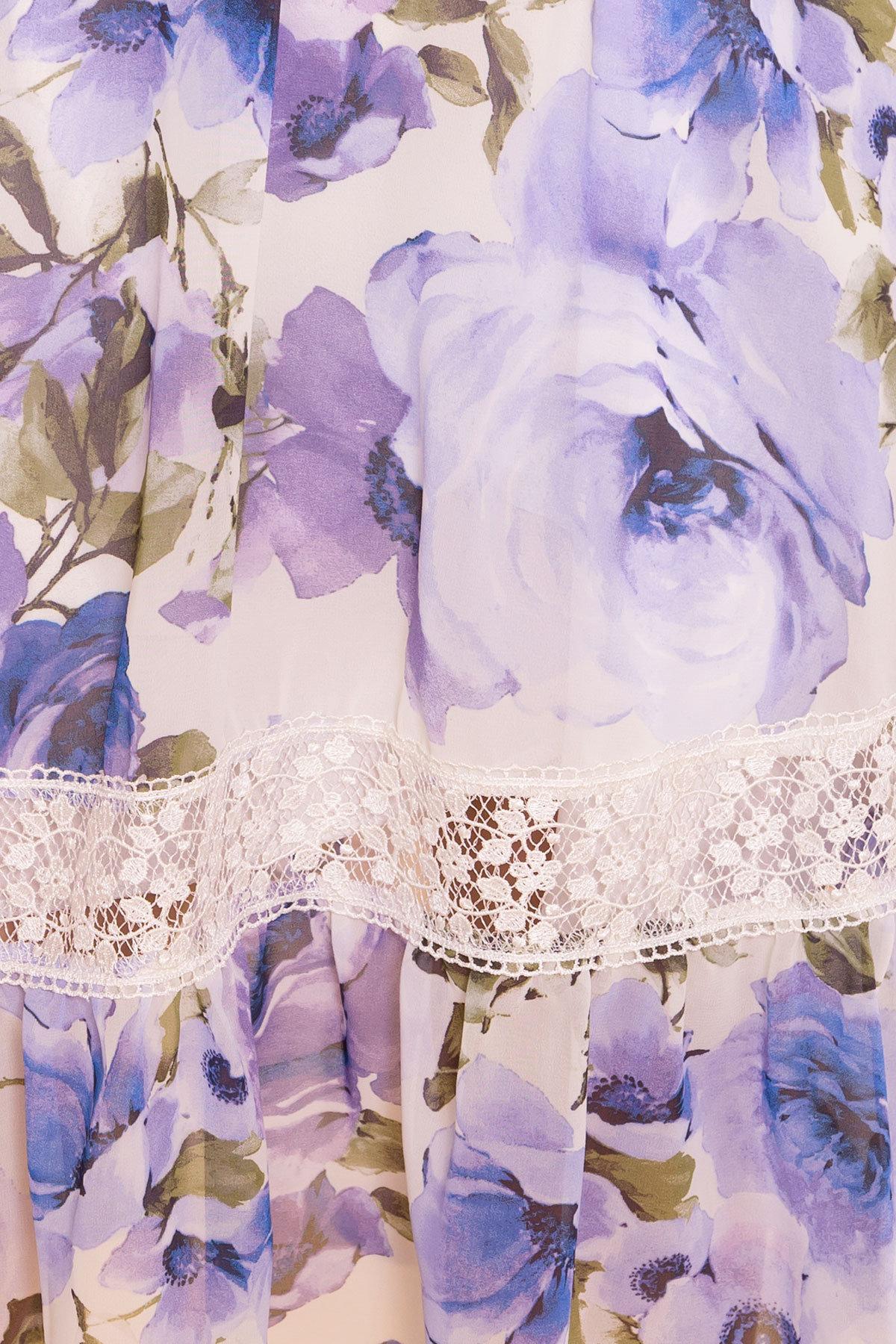 Платье Санем 6587 АРТ. 41976 Цвет: Розы молоко/голубой/молоко - фото 4, интернет магазин tm-modus.ru