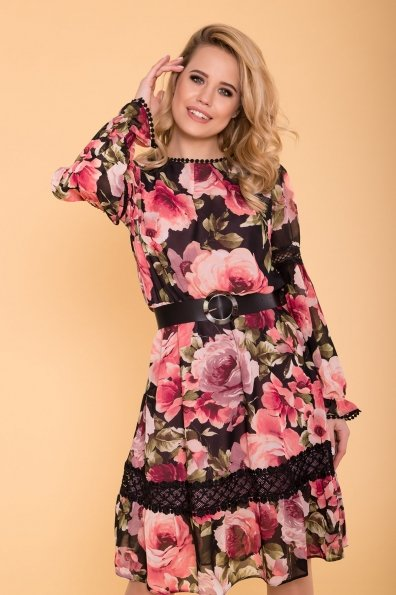 Платье Санем 6587 Цвет: Розы черный/пудра/пудра